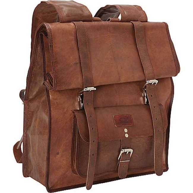 SHARO B-1400 Brown Hand-crafted Genuine Leather Roll-up Backpack ...
