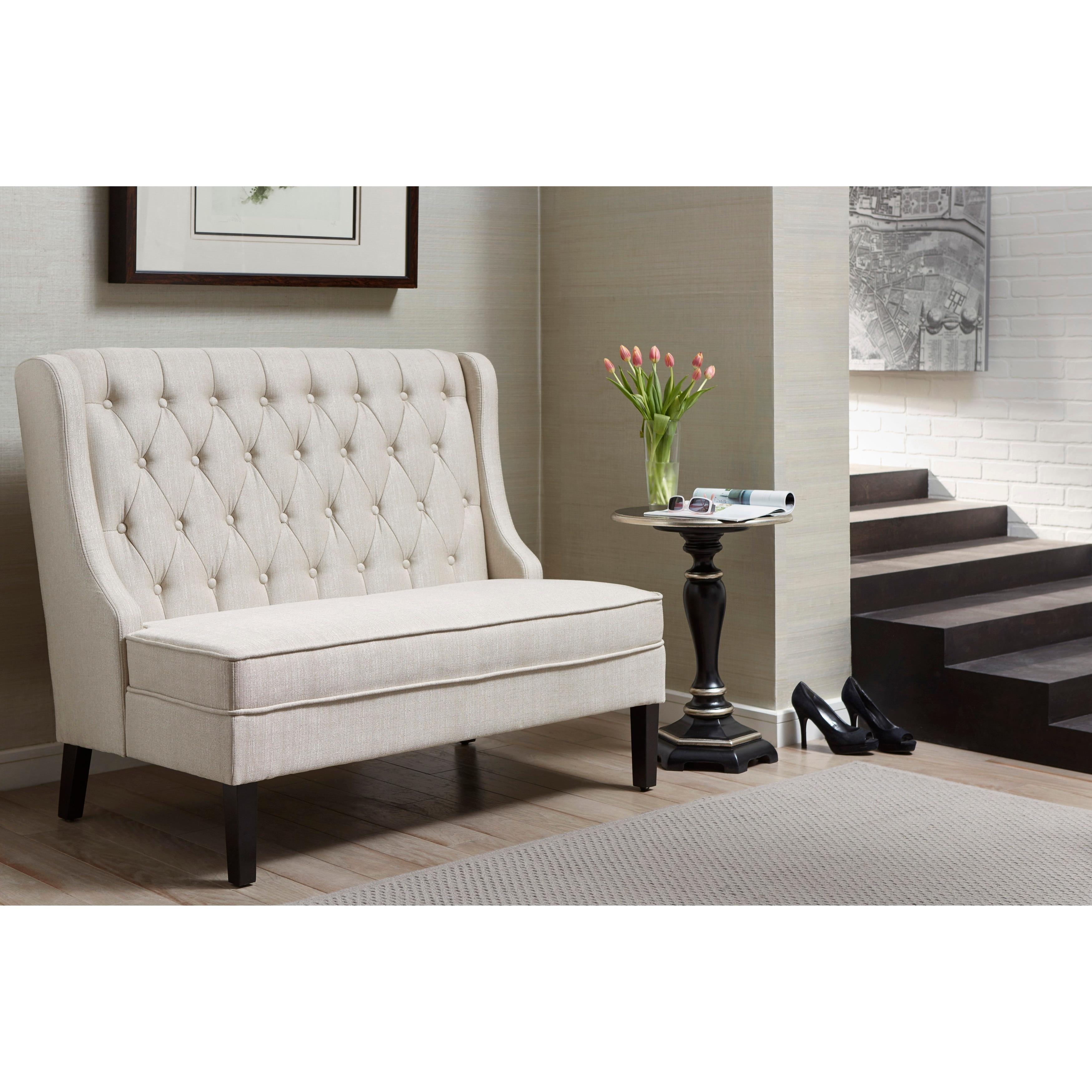 free today home settee tufted legs acrylic living shipping overstock simple leona with bench garden velvet product button