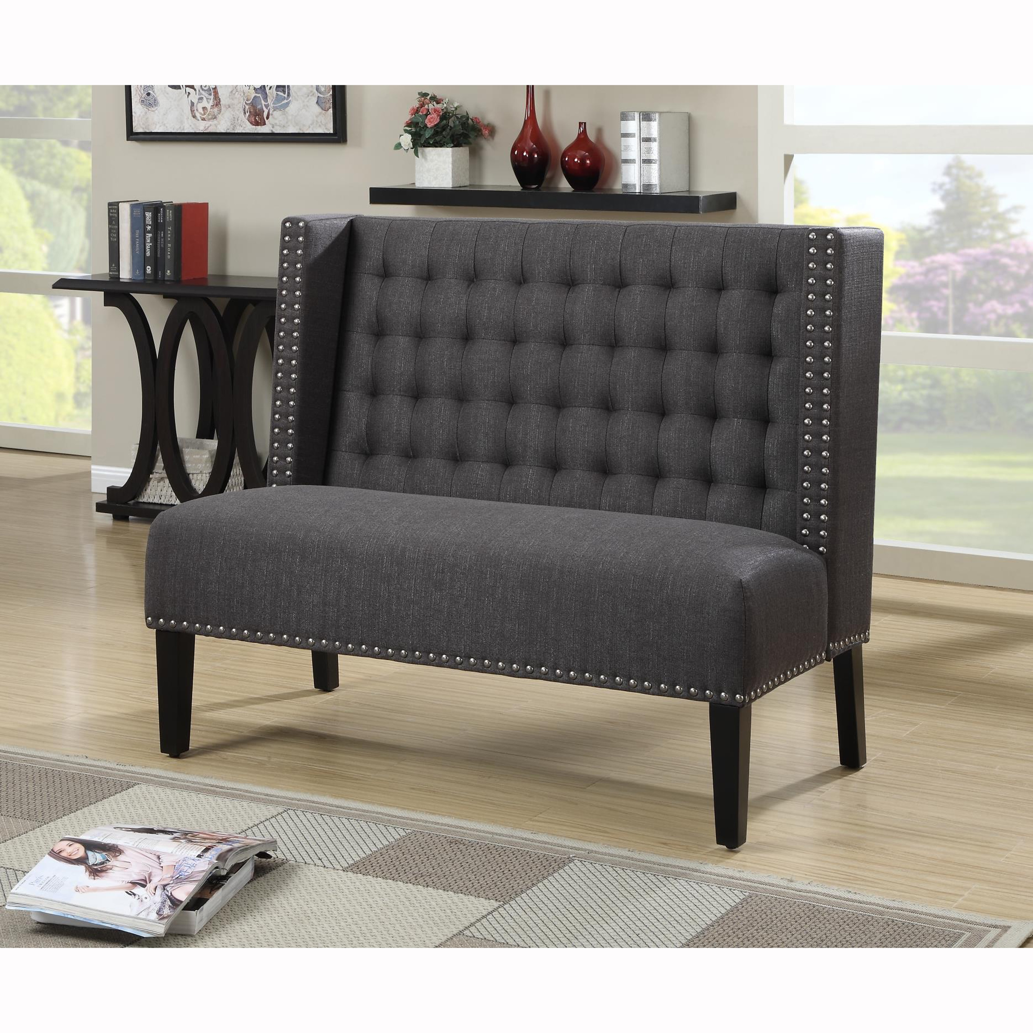 Dark Grey Tufted Upholstered Banquette Bench   Free Shipping Today    Overstock.com   17197819