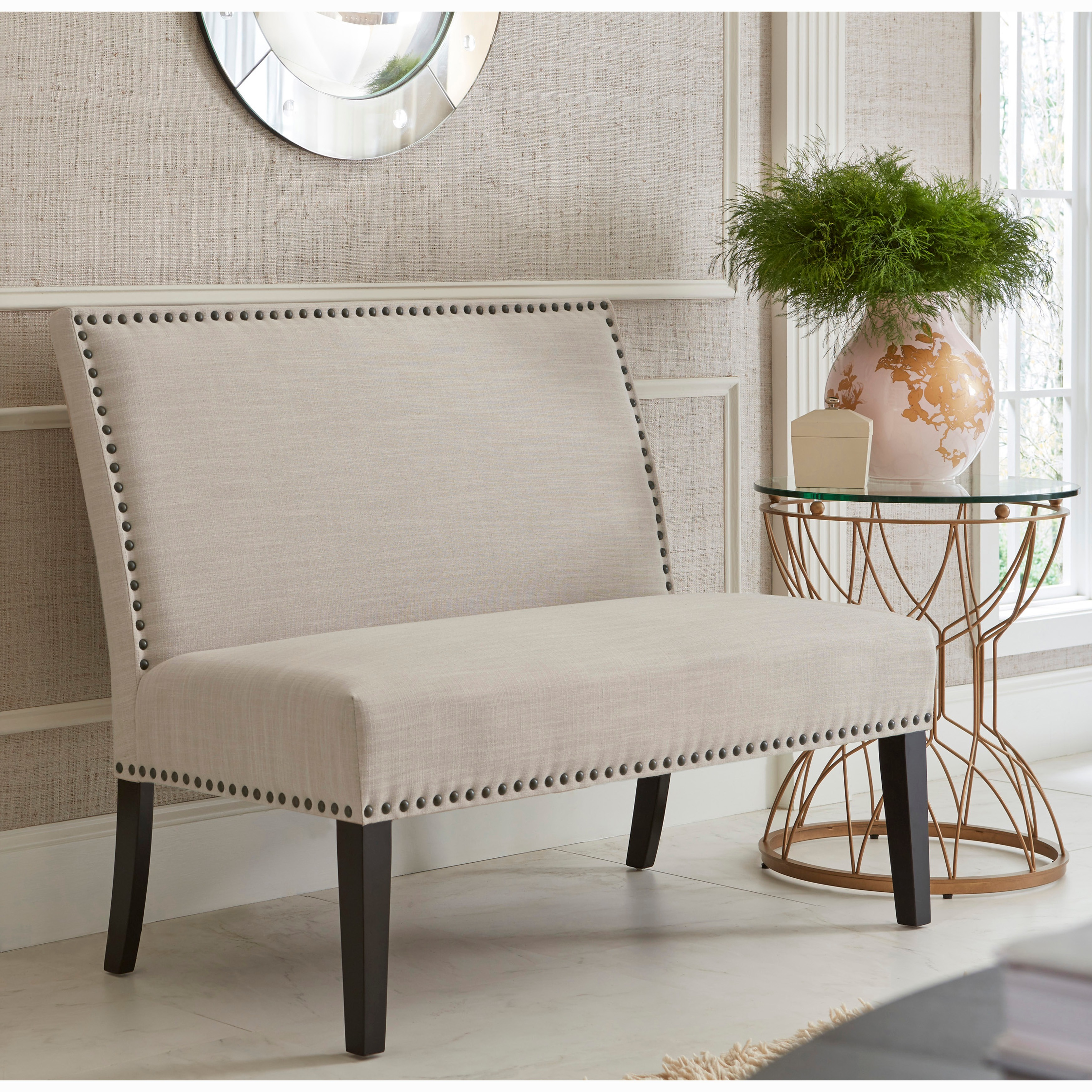 Cream Upholstered Nail Head Trim Banquette Bench Free Shipping  # Muebles Tagalog