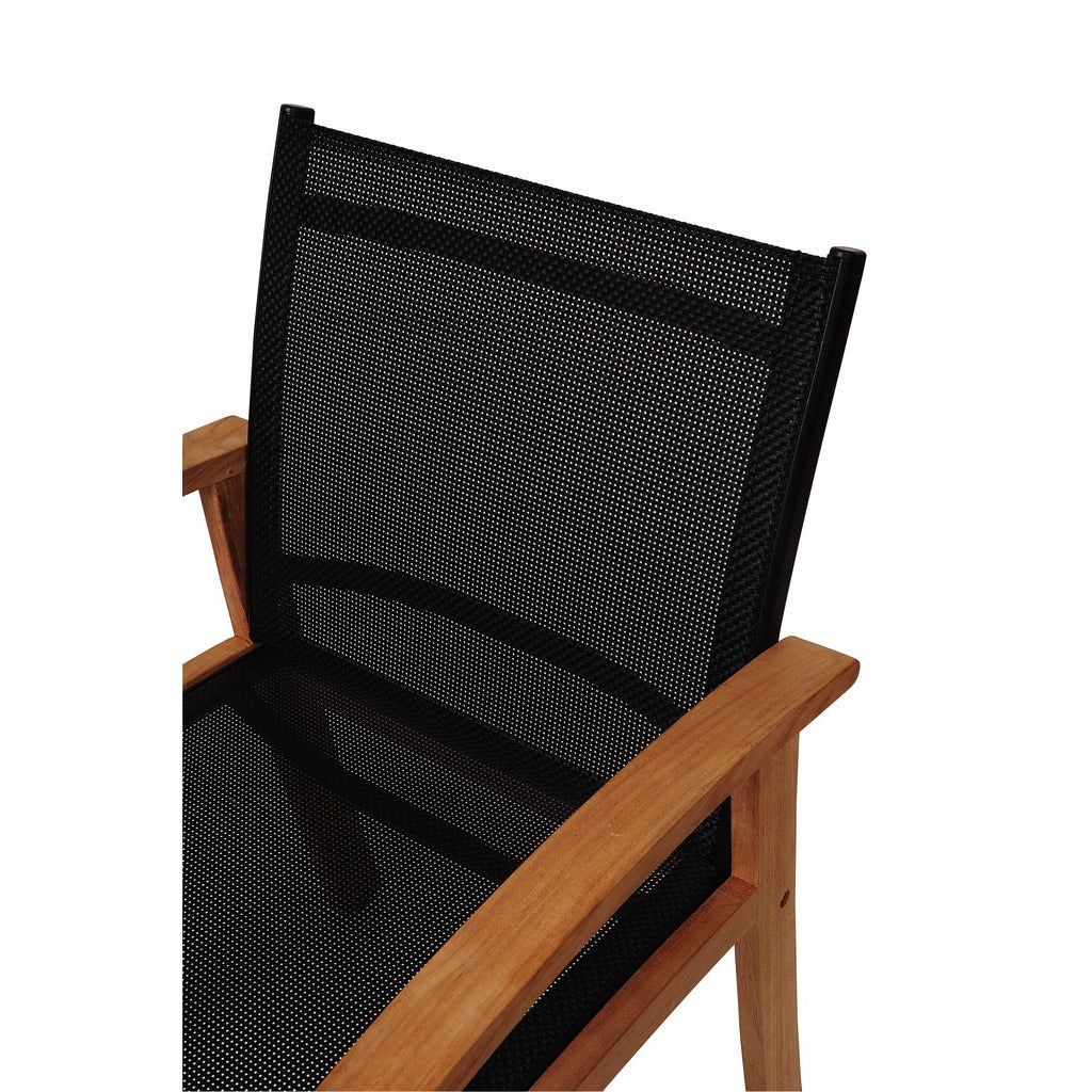 Shop Amazonia Teak Luna Patio Dining Armchair With Black Textile Sling    Free Shipping Today   Overstock.com   10055500