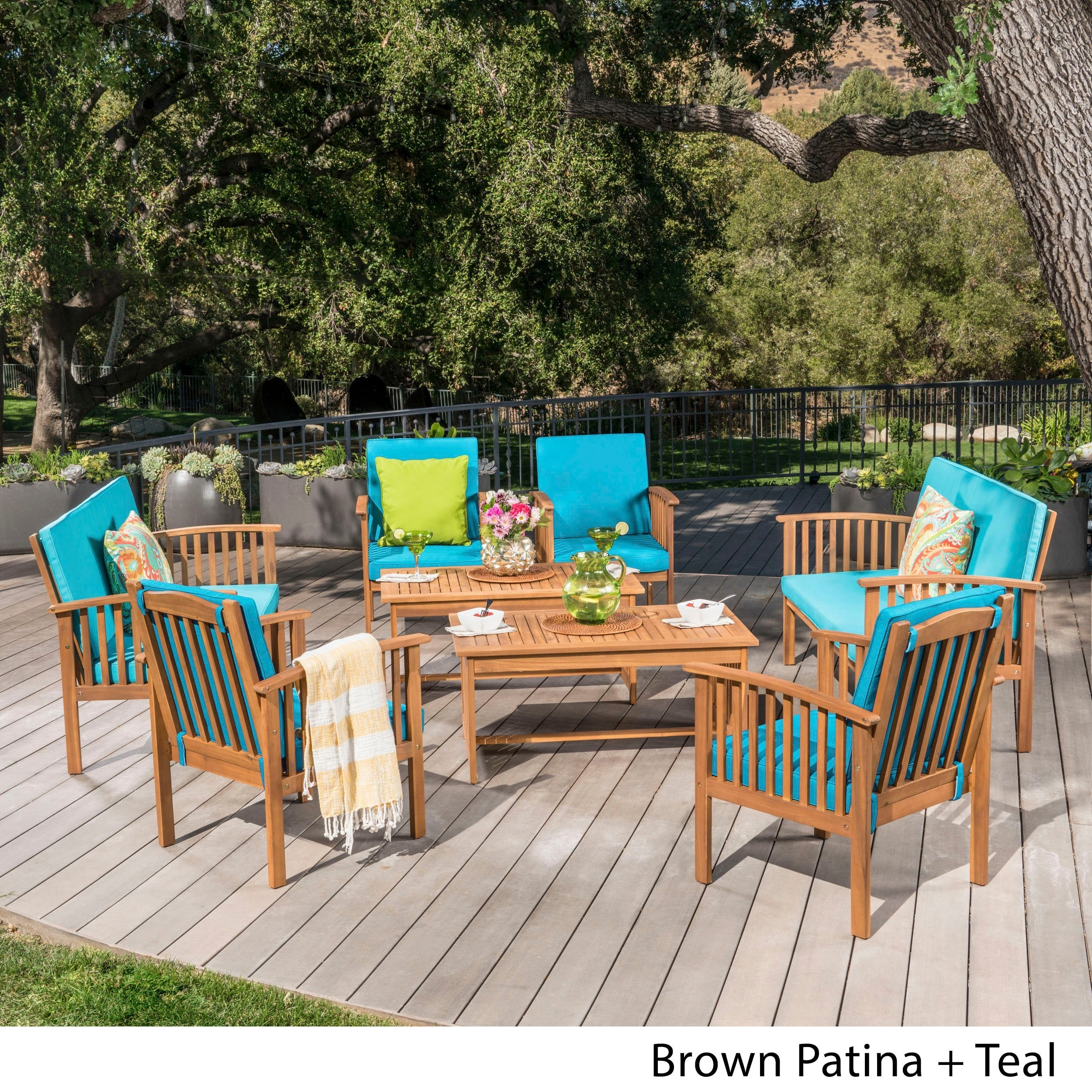 Carolina Acacia 8 Piece Outdoor Sofa Set By Christopher Knight Home   Free  Shipping Today   Overstock.com   17201257