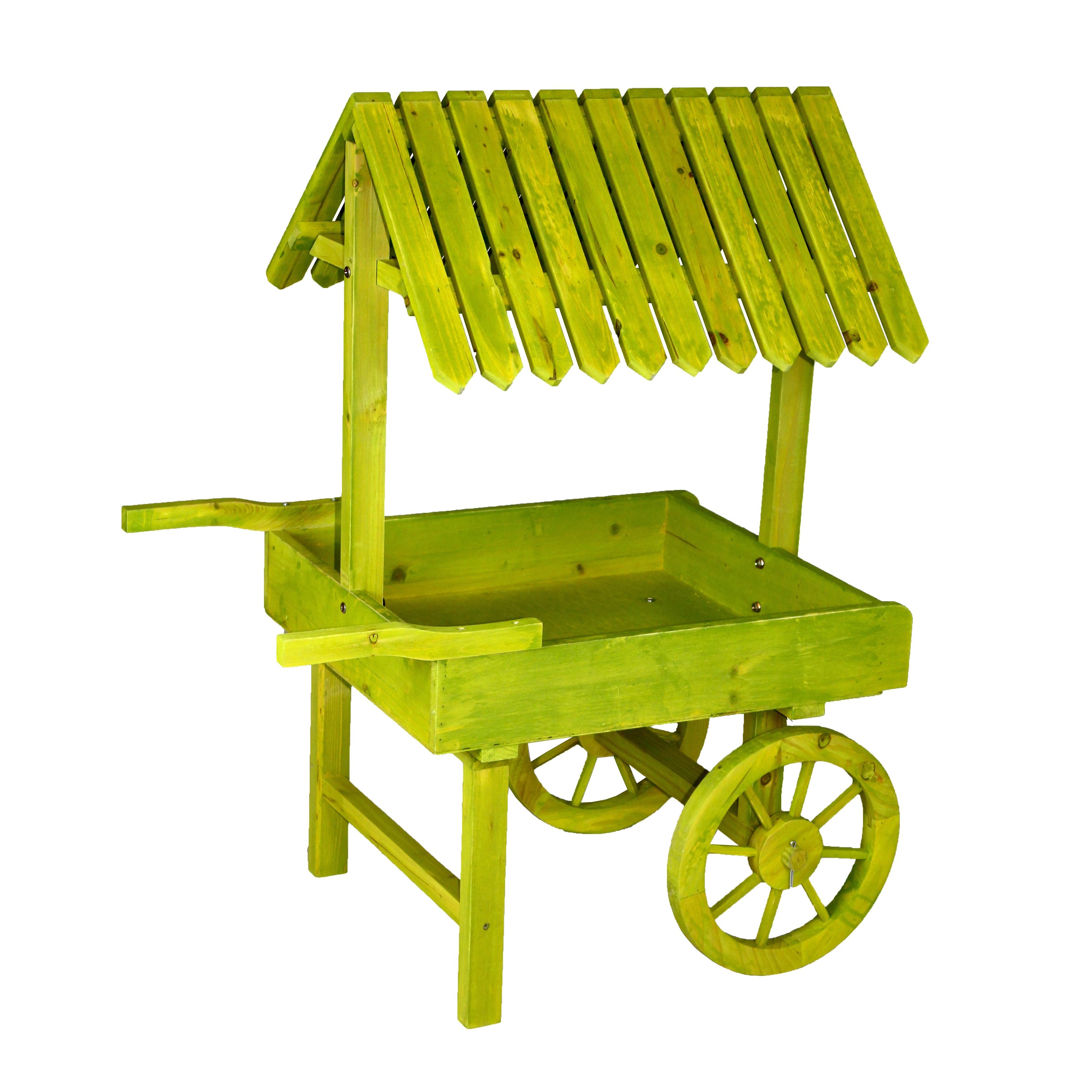 Antique Green Wooden Vendor Cart Planter - Free Shipping Today -  Overstock.com - 17201305