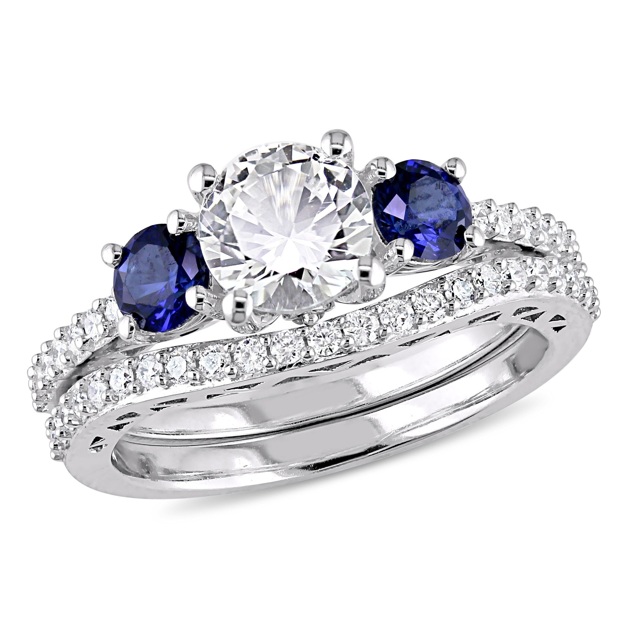 sapphire with blue meteorite titanium engagement ring wedding products set band