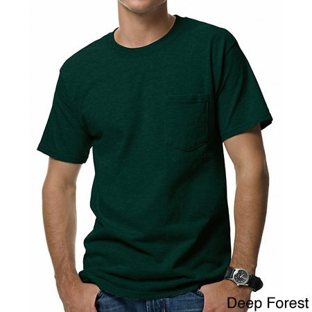 f1c6fe51 Shop Hanes Men's Beefy-T Pocket T-Shirt - Free Shipping On Orders Over $45  - Overstock - 10056859
