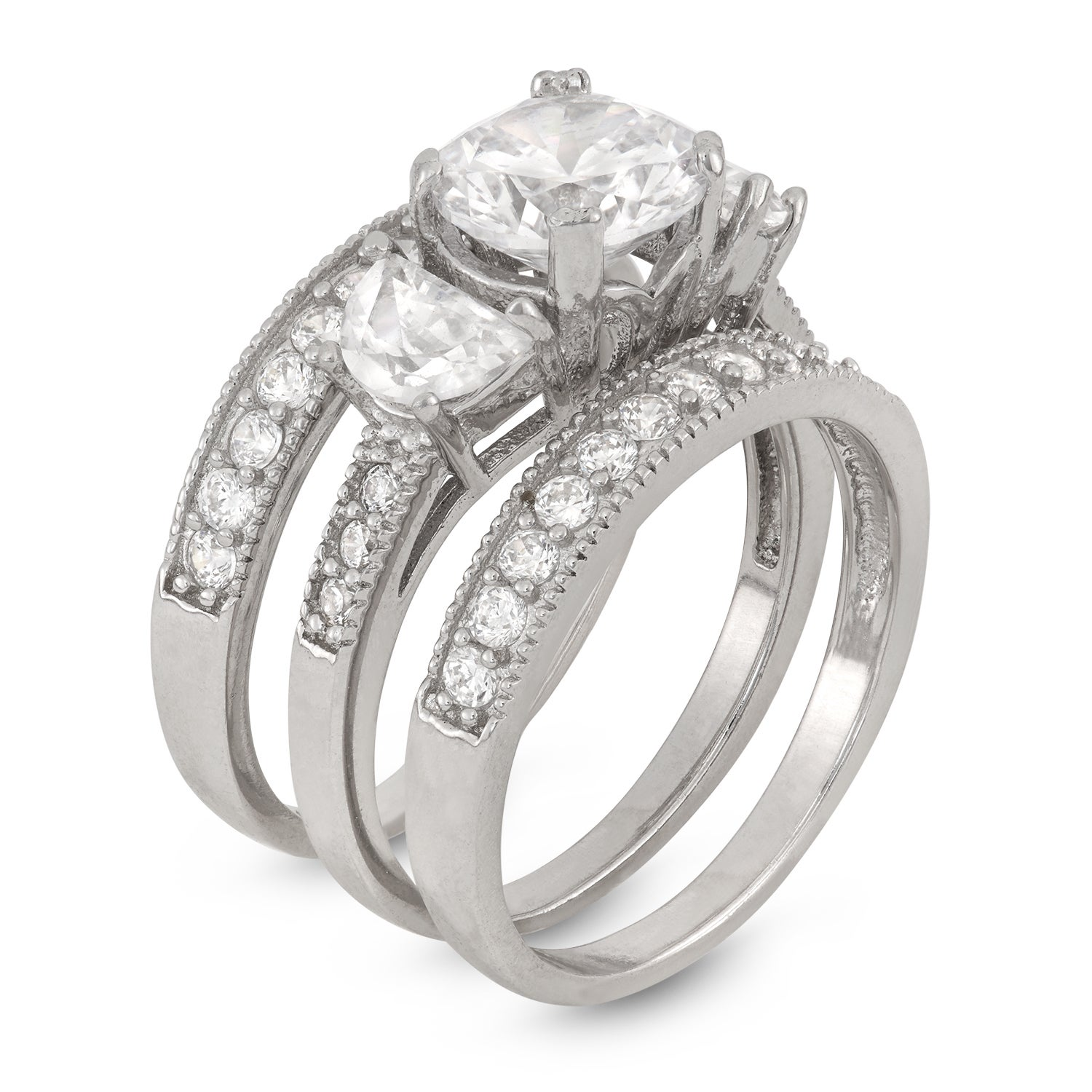 Sterling Silver 2ct TGW Round-cut Cubic Zirconia 3 Piece Embellished Bridal  Set Ring