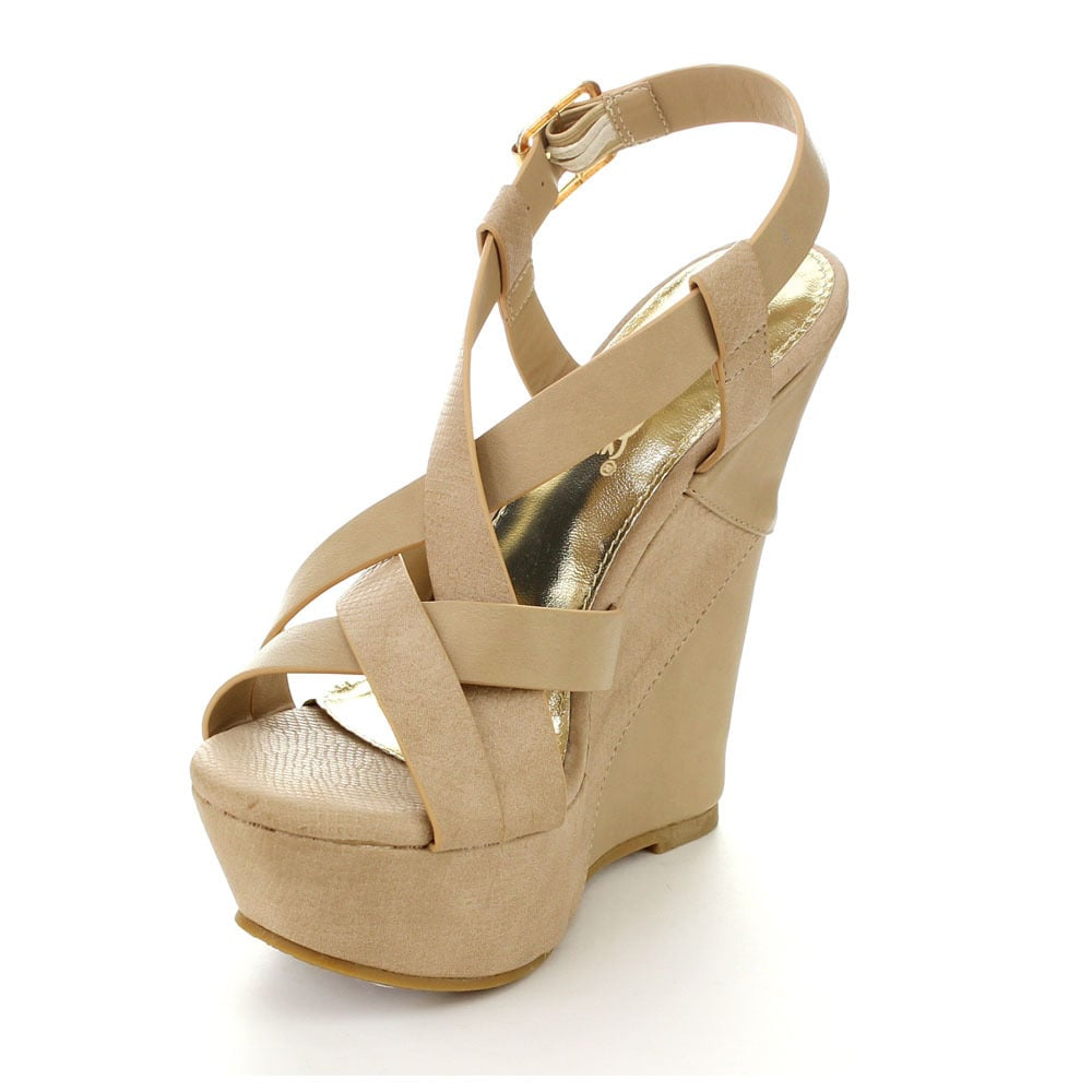 a28826005ac Shop DBDK ESTELLE-1 Women s Ankle Strap Crossing Vamp Slingback Platform  Wedge - Free Shipping On Orders Over  45 - Overstock - 10059358