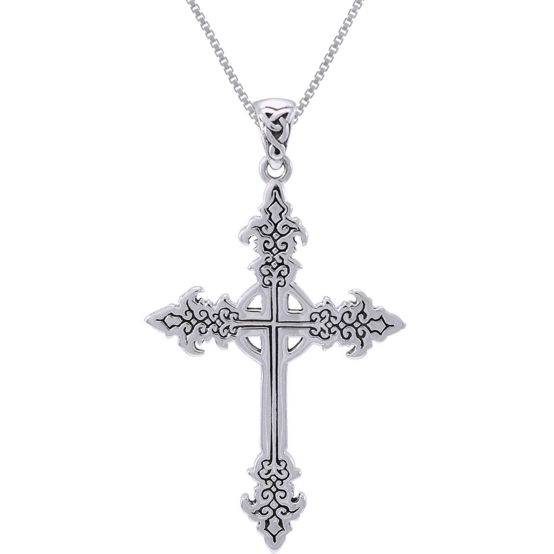 chain cross two with co in black ball mens necklace jewellery tone celtic uk dp steel pendant amazon stainless silver