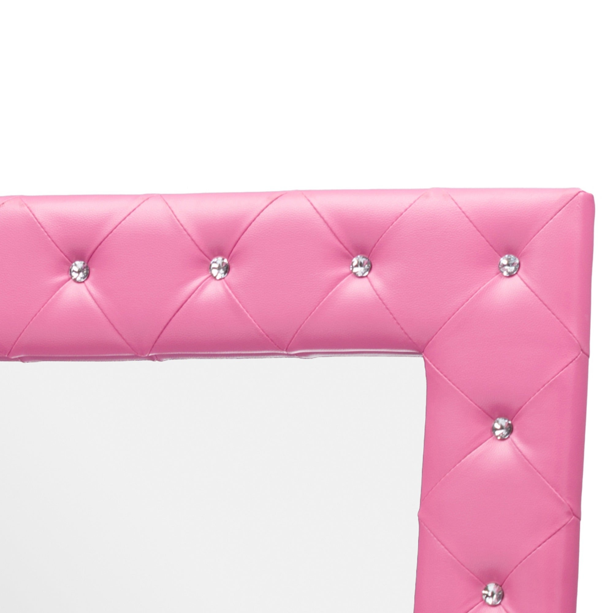 Silver Orchid Porten Crystal Tufted Pink Floor Mirror Free Shipping Today 20543540