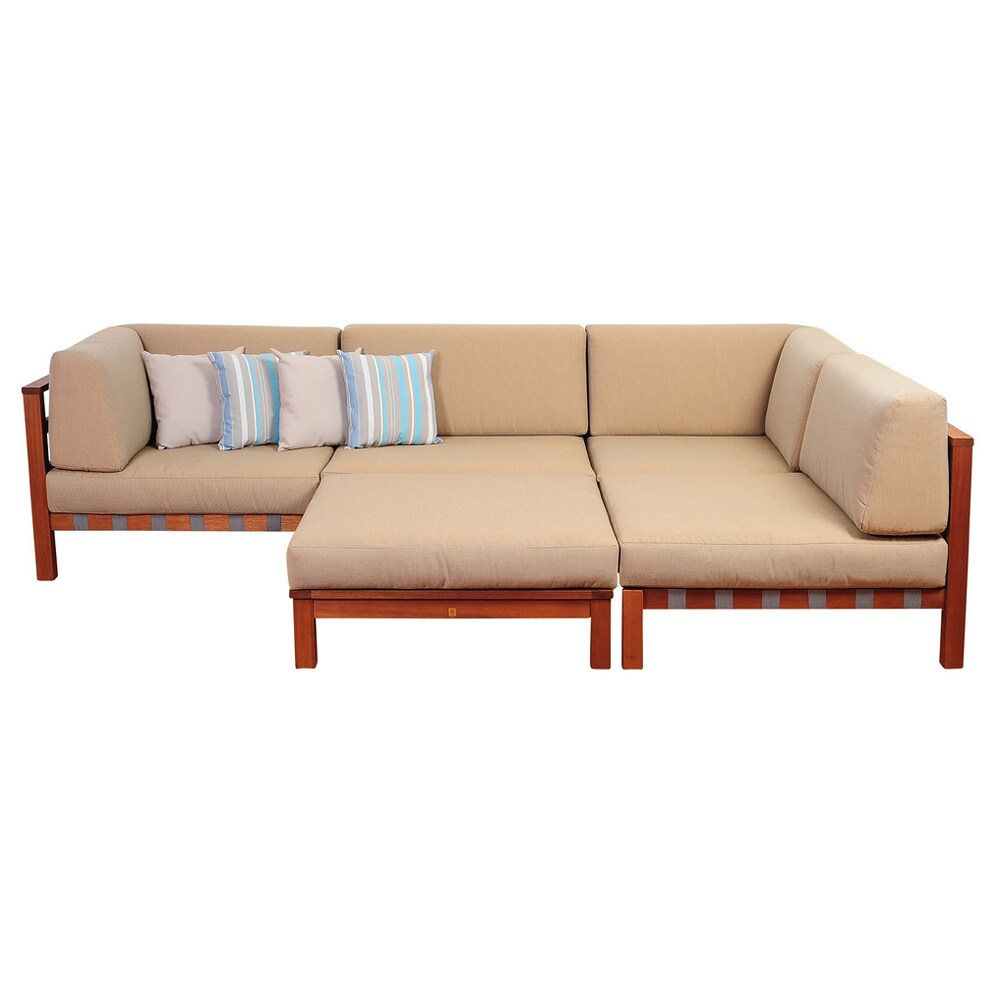 Shop amazonia montgomery deluxe 5 piece eucalyptus sectional set with khaki cushions by jamie durie free shipping today overstock 10060104