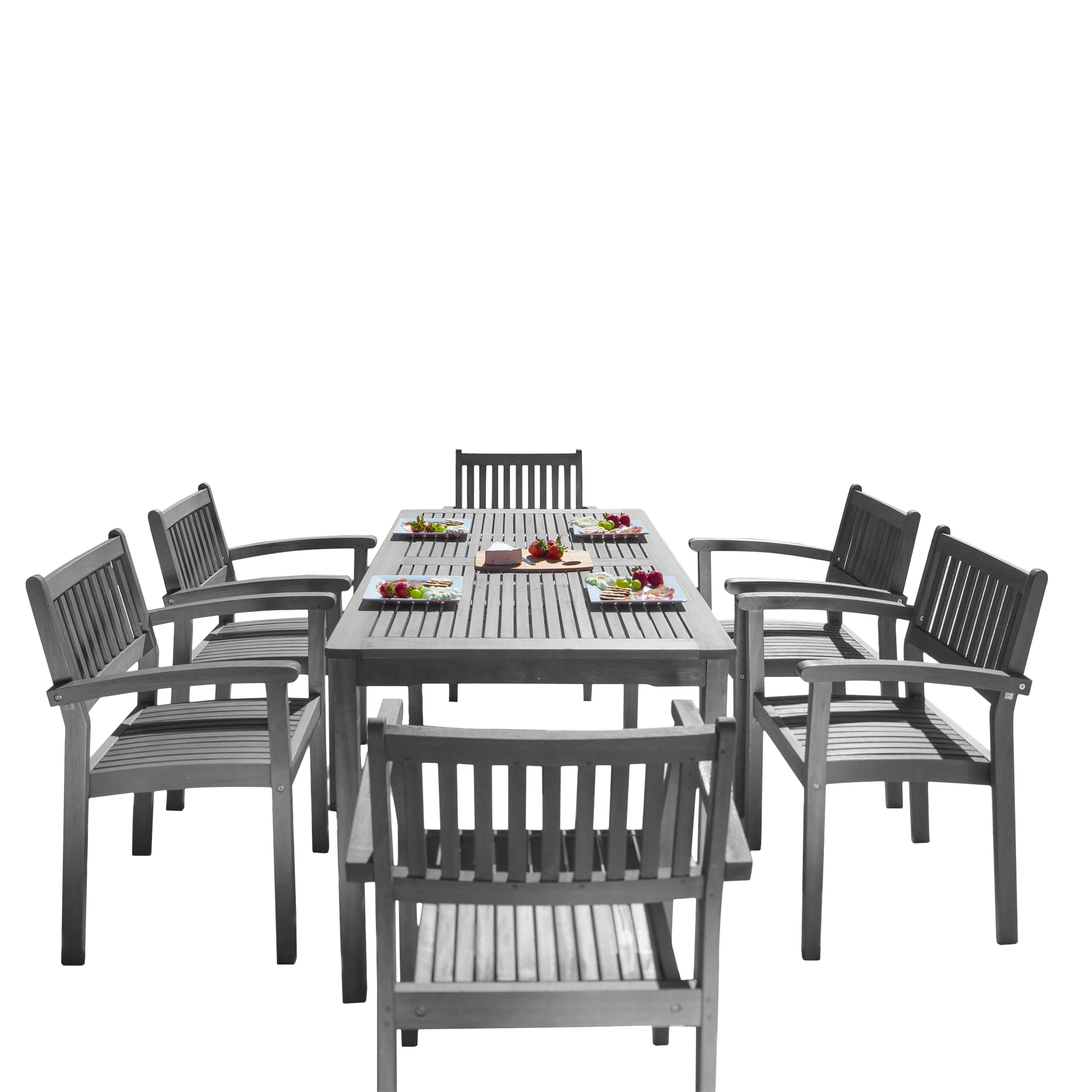 Shop The Gray Barn Bluebird 7 Piece Eucalyptus Wood Stacked Chair Outdoor  Dining Set   Free Shipping Today   Overstock.com   22801973