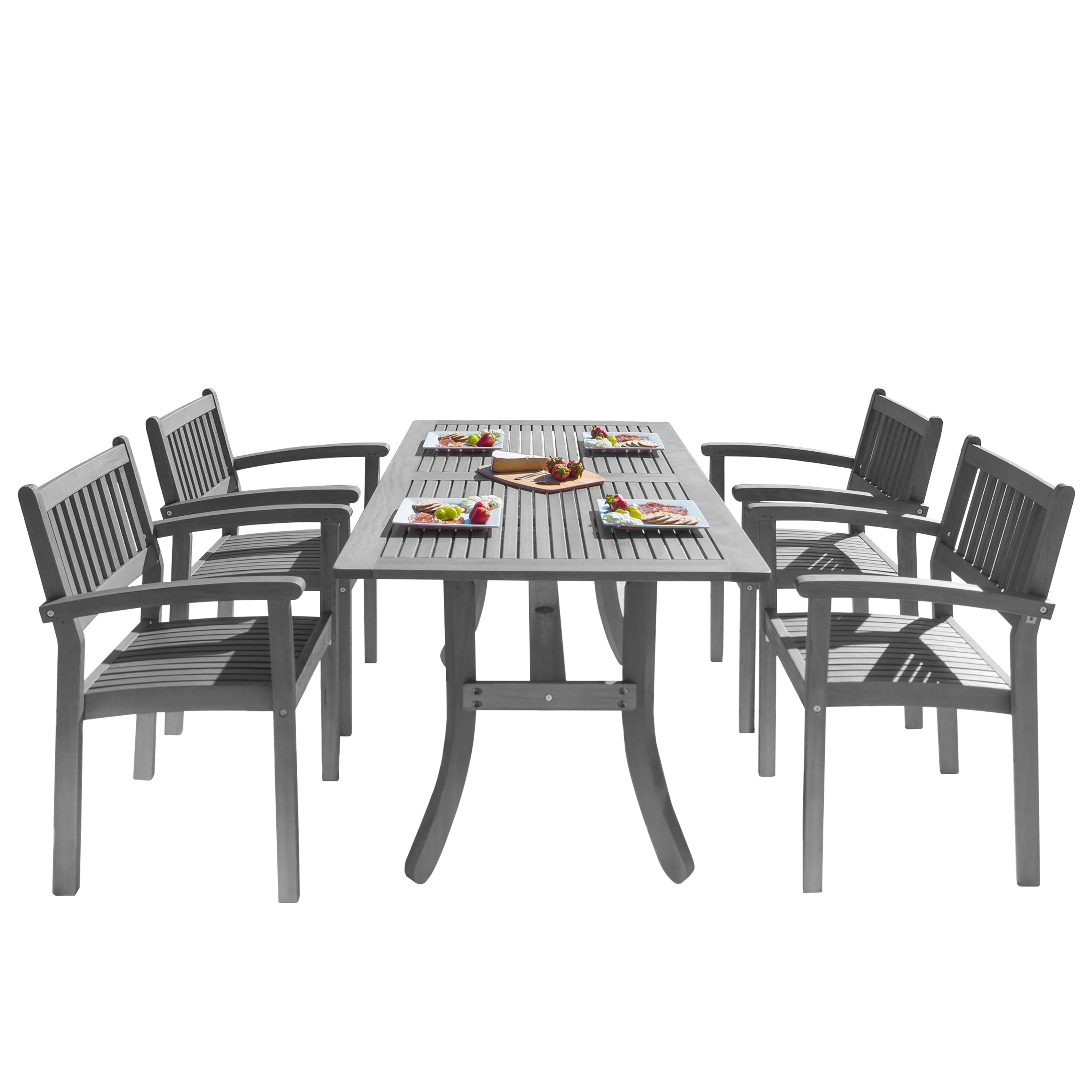 Havenside home surfside 5 piece eucalyptus wood outdoor dining set with curved table