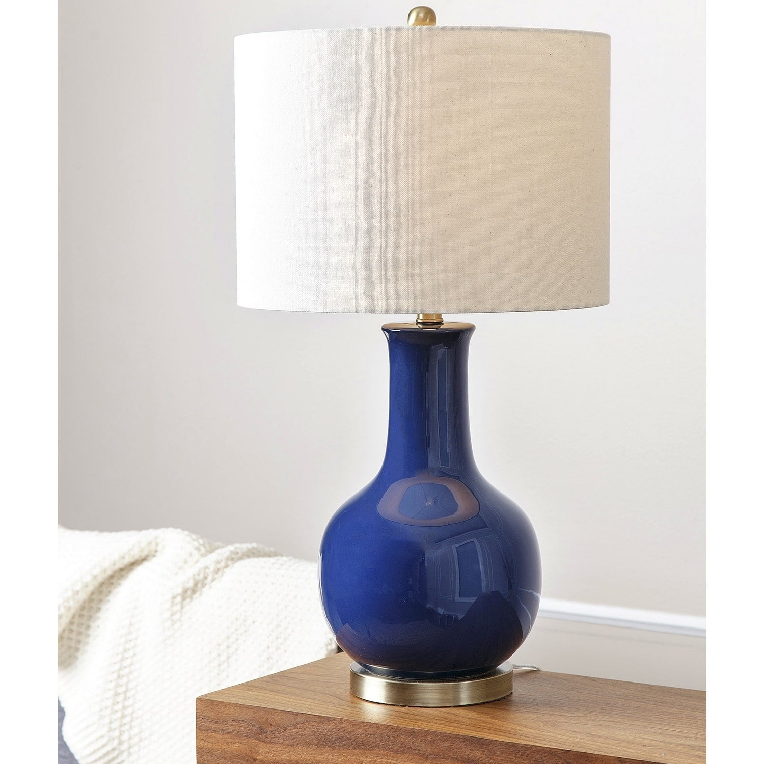 Incroyable Shop Abbyson Gourd Navy Blue Ceramic Table Lamp   Free Shipping Today    Overstock.com   10061613