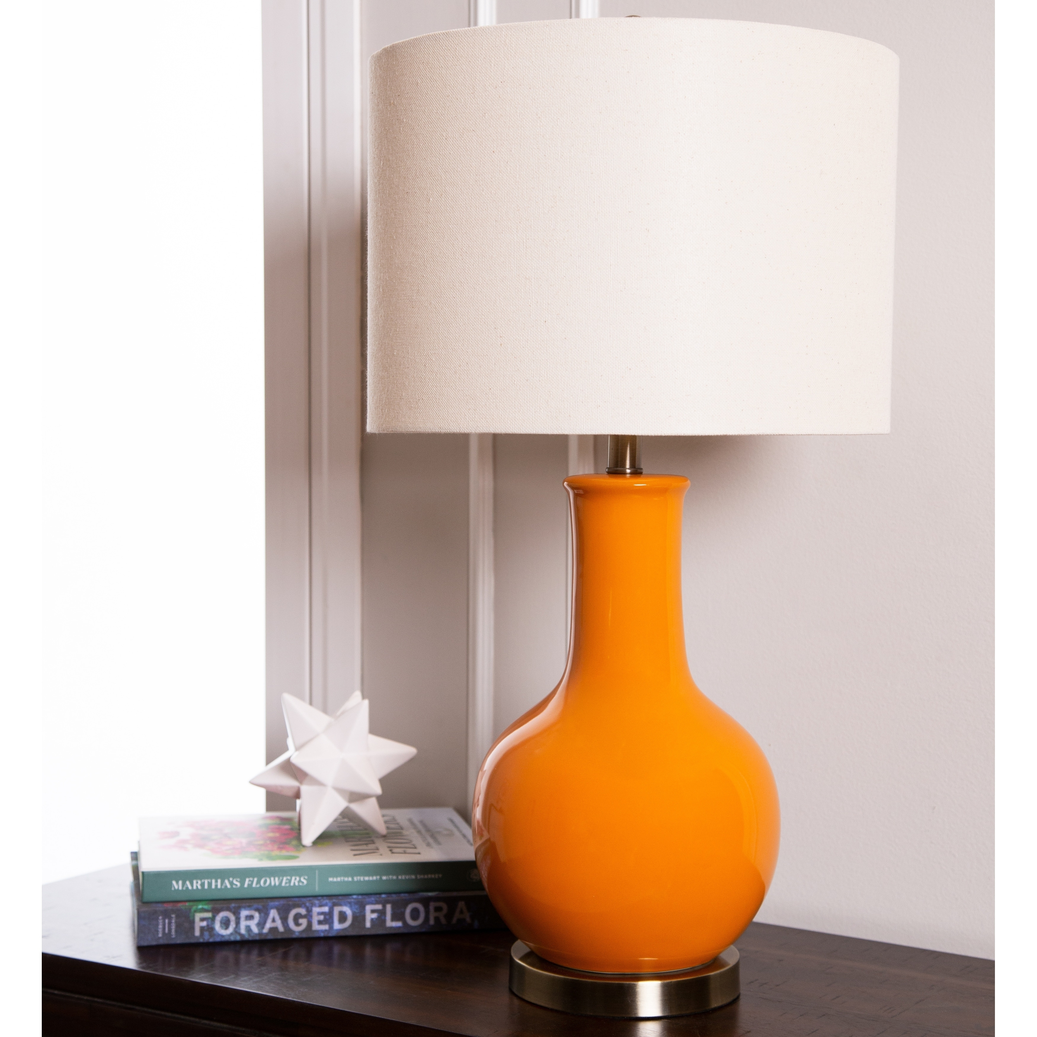 Shop Abbyson Gourd Orange Ceramic 29 Inch Table Lamp On Sale