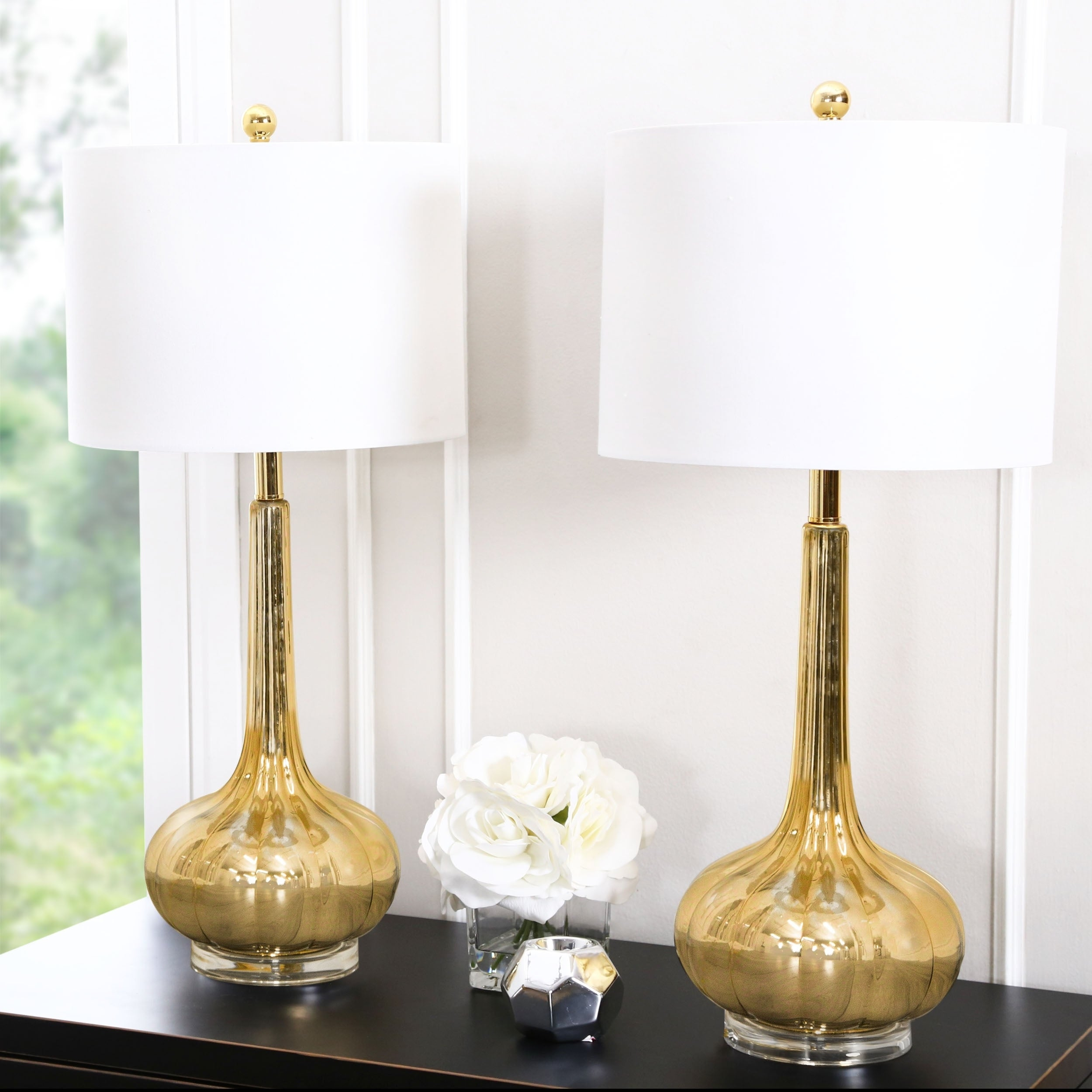 Abbyson Antique Gold Mercury Gl 28 Inch Table Lamp Set Of 2