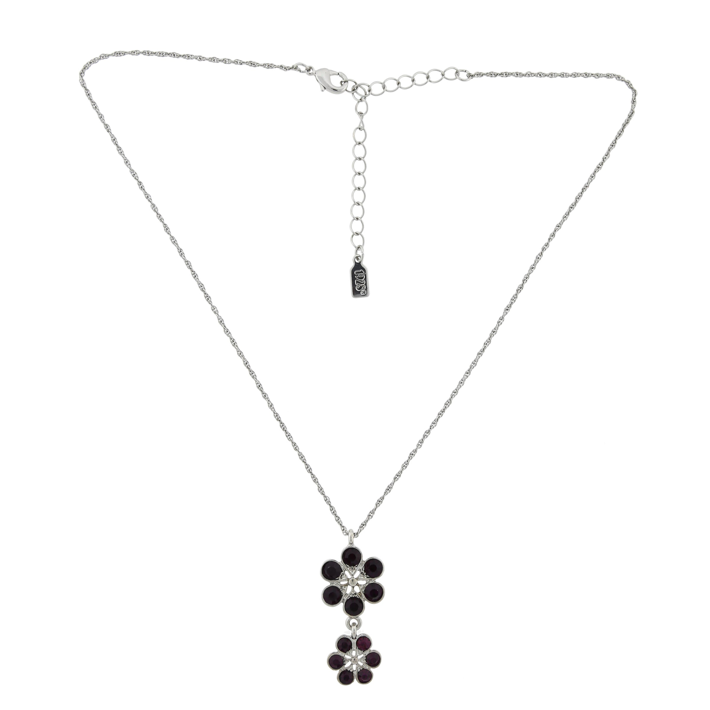 1928 Jewelry Silvertone Dark Purple Glass Stone Flower Drop Pendant and  Round Stud Earrings Set - Free Shipping On Orders Over $45 - Overstock.com  - ...
