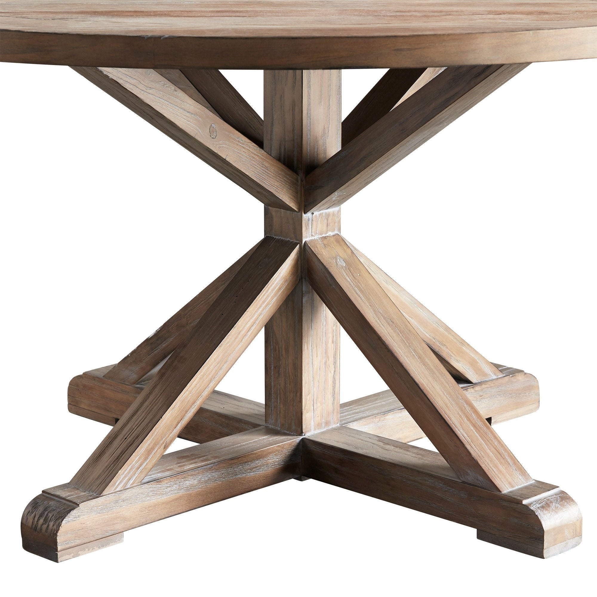 Benchwright Rustic X base Round Pine Wood Dining Table by iNSPIRE Q