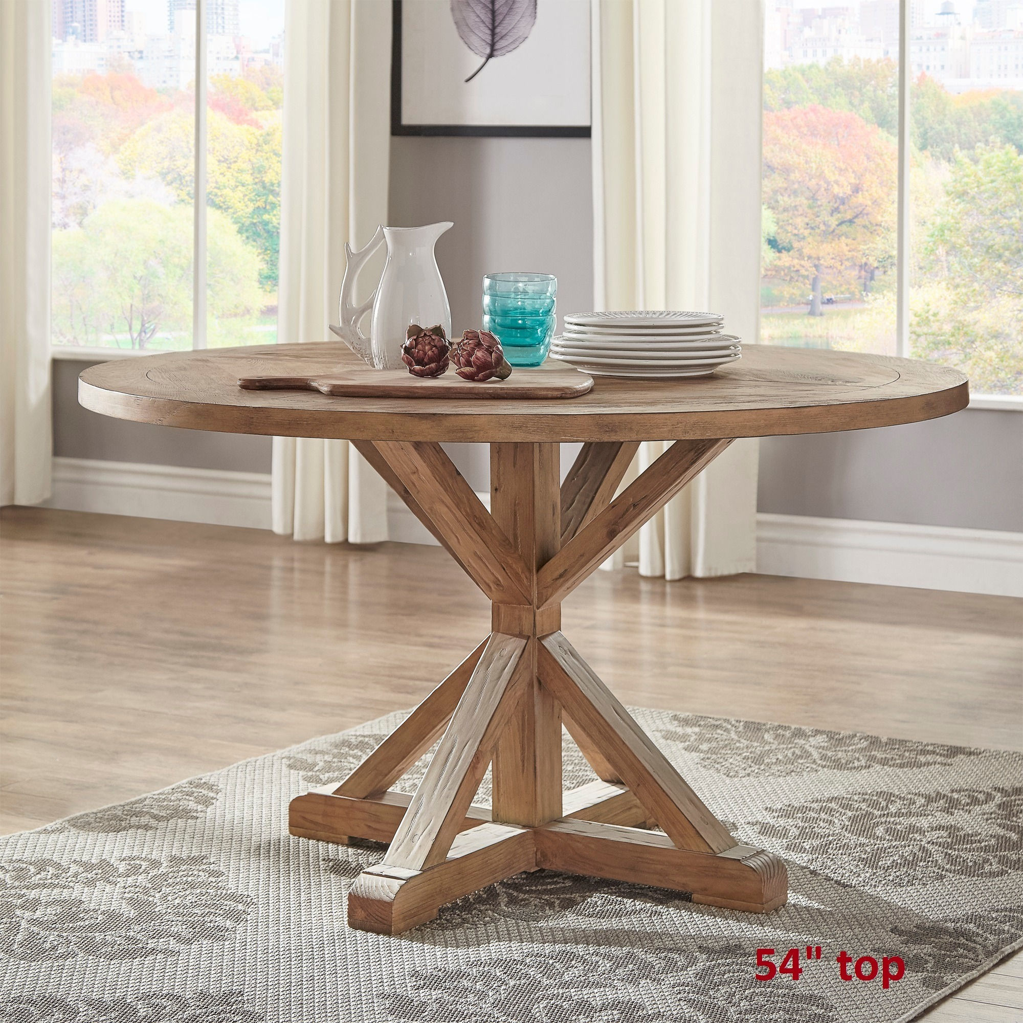 Benchwright Rustic X-base Round Pine Wood Dining Table by iNSPIRE Q Artisan  - Free Shipping Today - Overstock.com - 17207387