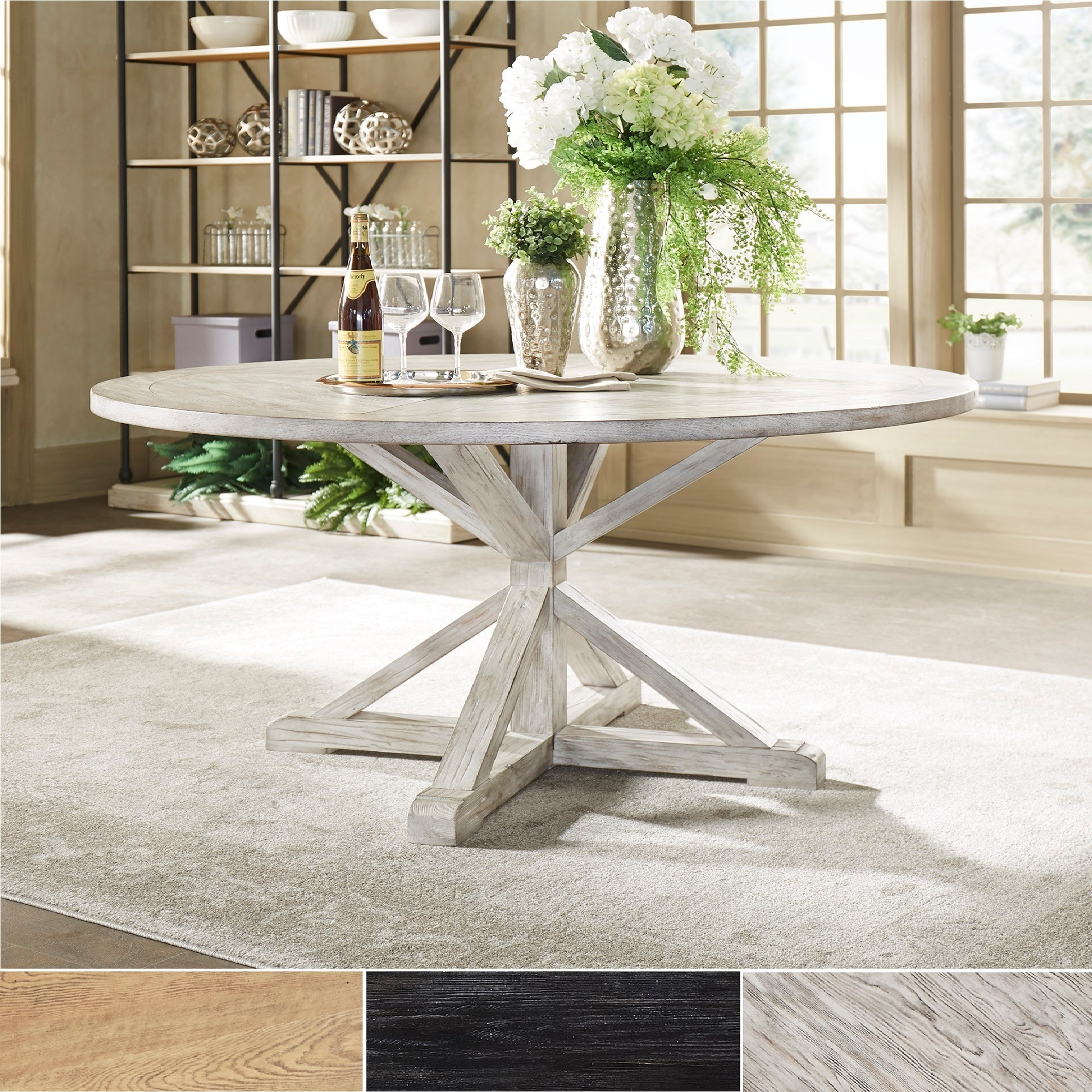 Shop Benchwright Rustic X Base Round Pine Wood Dining Table By