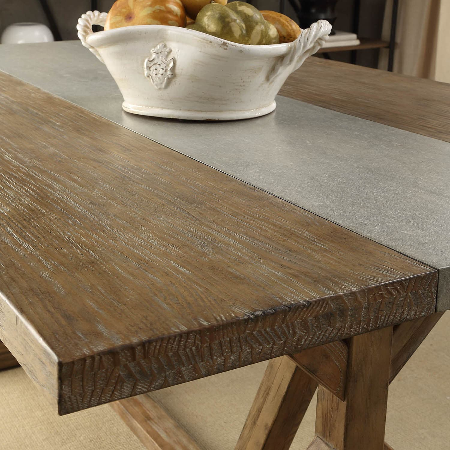 Benchwright Rustic Pine Trestle Concrete Inlaid wood 6-piece Dining Set by  iNSPIRE Q Artisan - Free Shipping Today - Overstock.com - 17207388