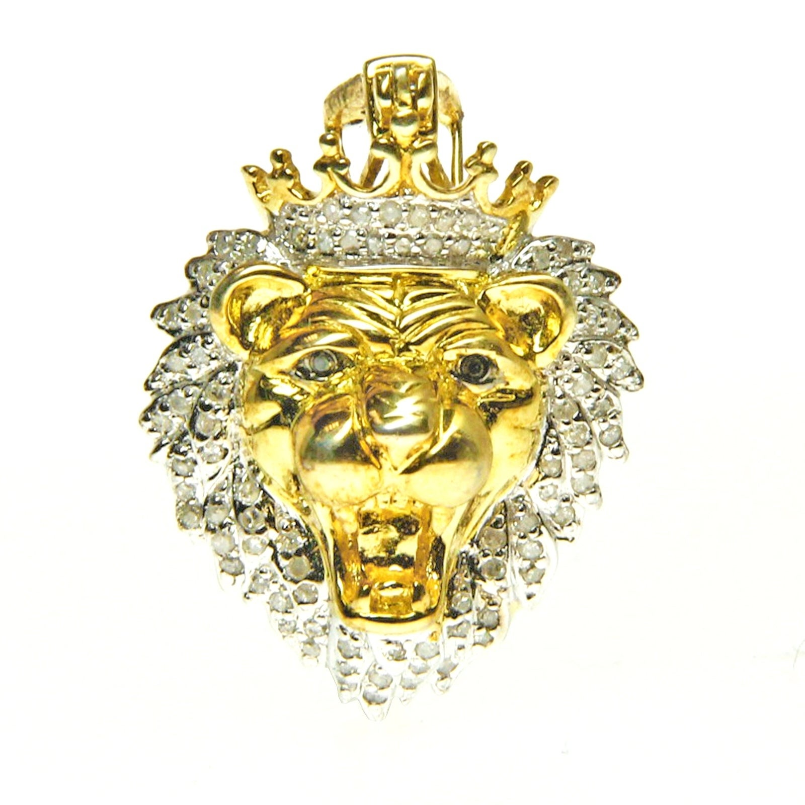 Shop Sterling Silver Diamond Accent Lion Head Necklace - Free ...