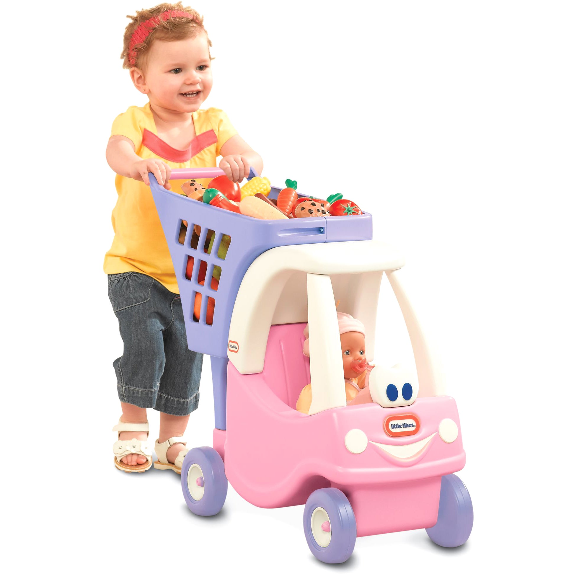 Little Tikes Princess Cozy Coupe Pink/Purple Shopping Cart - Free ...