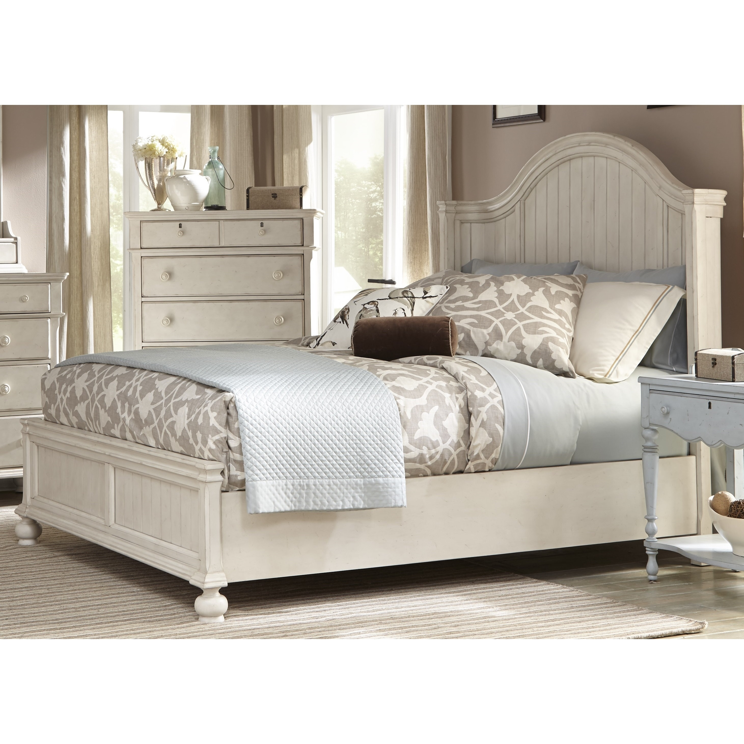 Laguna Antique White Panel Bed 6-piece Bedroom Set by Greyson ...