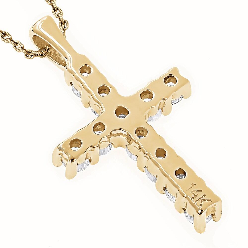 Shop Luxurman 14k Gold 1/3ct TDW Round Diamond Cross Necklace - On ...