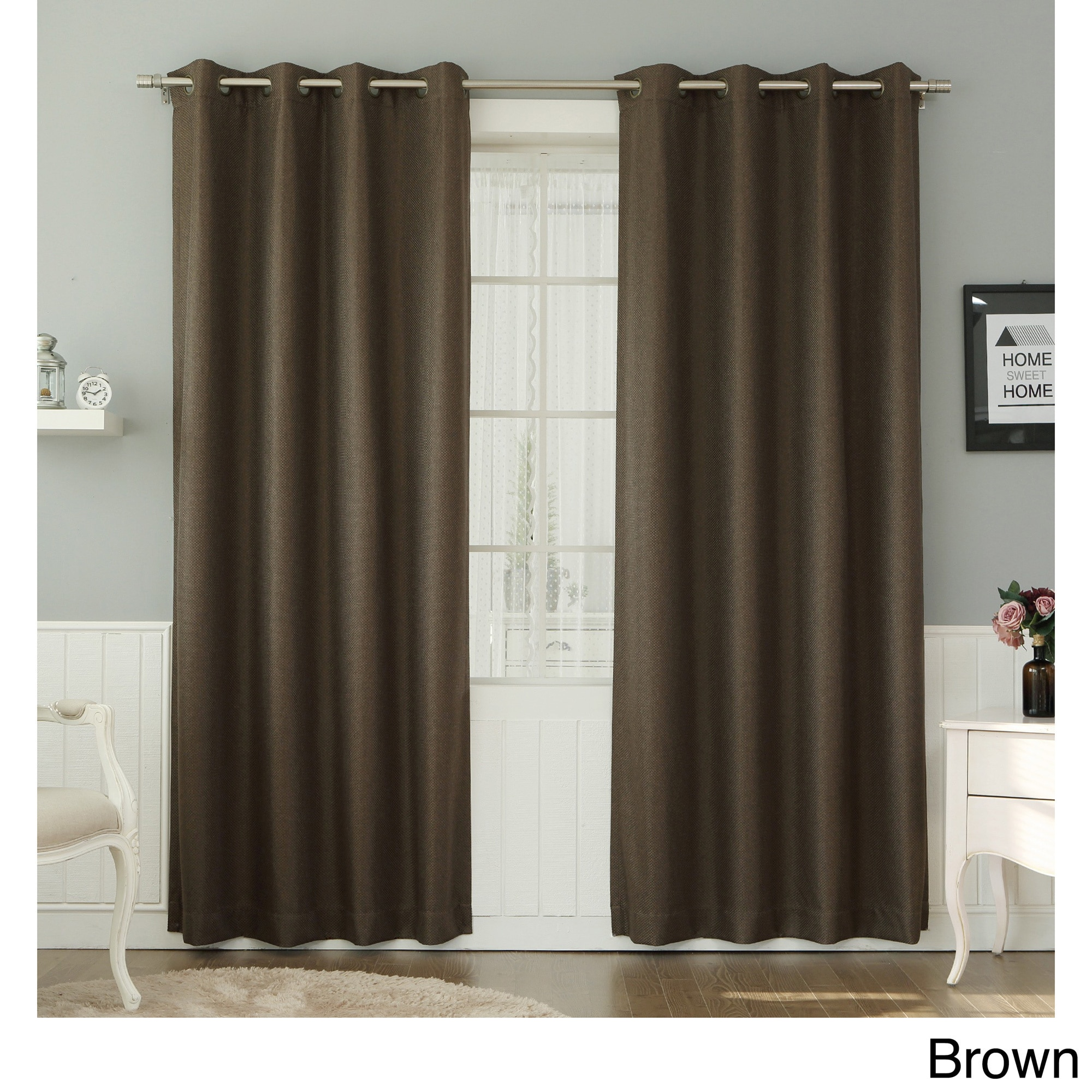 Shop Aurora Home Basketweave Linen Look Grommet Curtain Pair