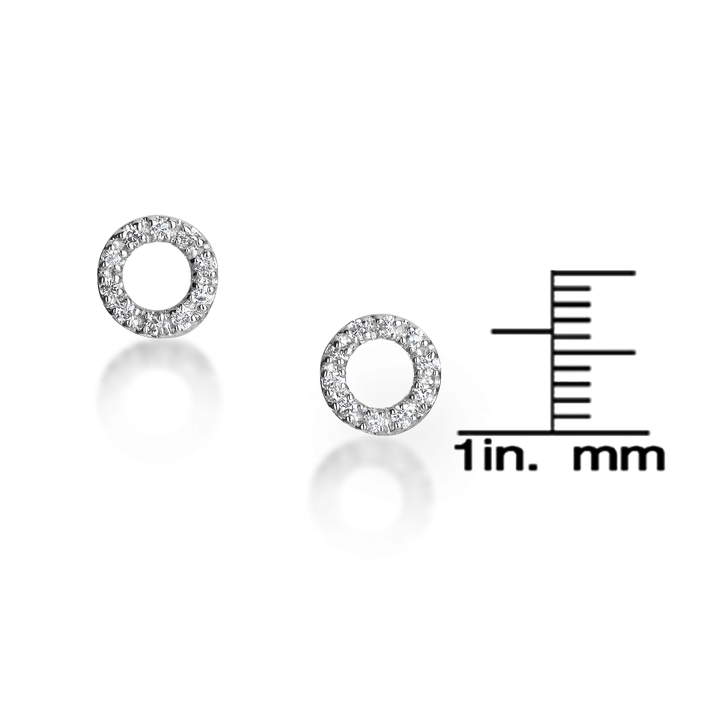 aa20f4ab6b2 14k White Gold Circle Diamond Accent Stud Earrings