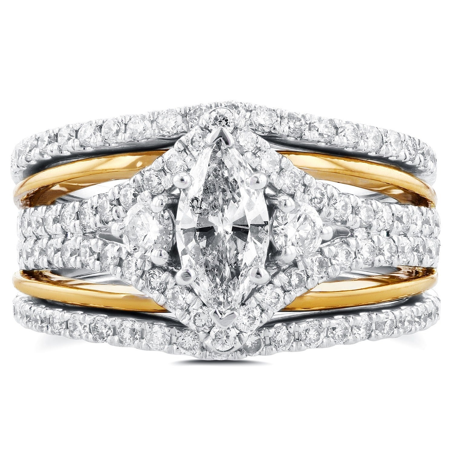 gold milgrain and marquise in white bands engagement dot diamond ring p