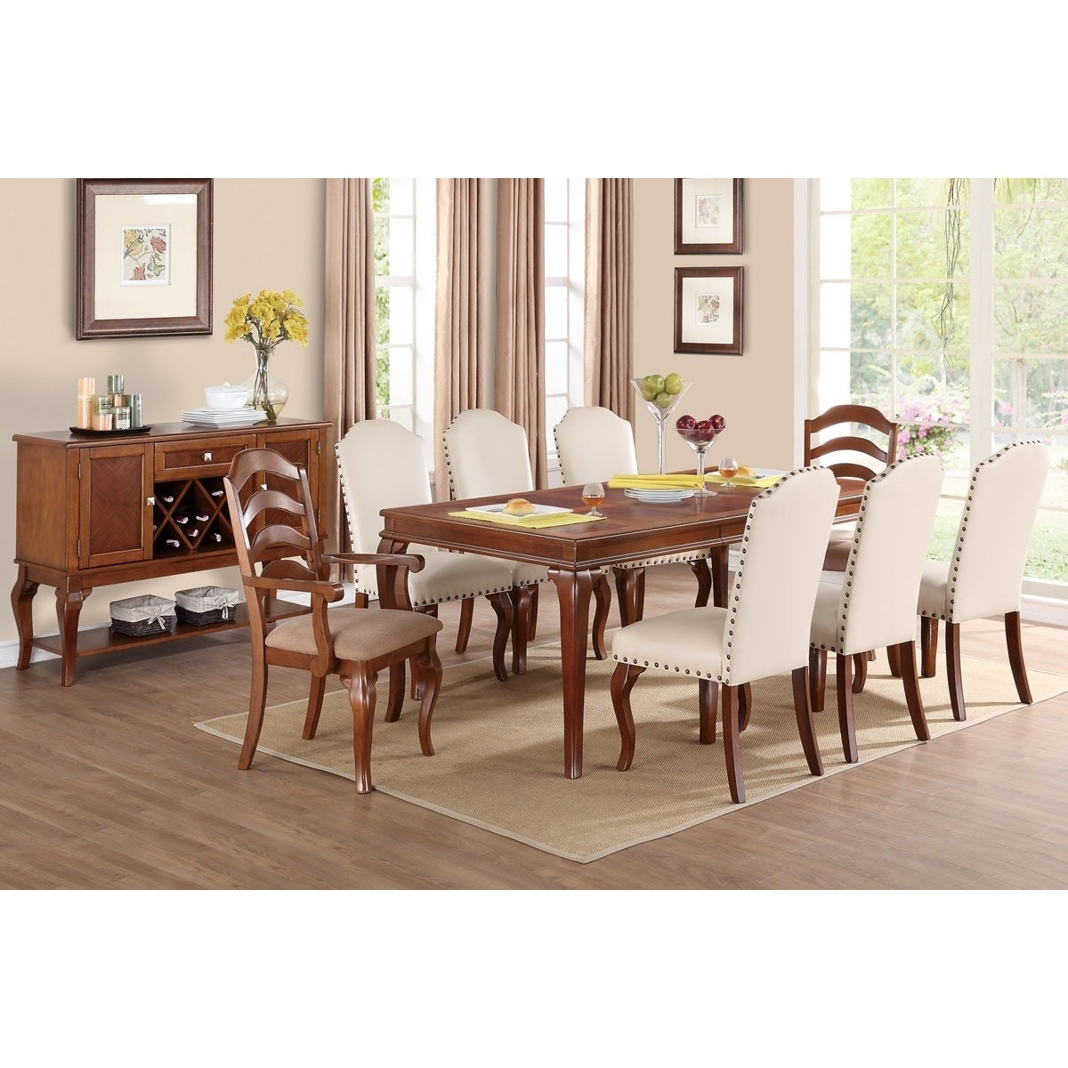 Shop western white cream poplar wood and bicast leather nailhead parsons dining chairs set of 6 free shipping today overstock com 10069281