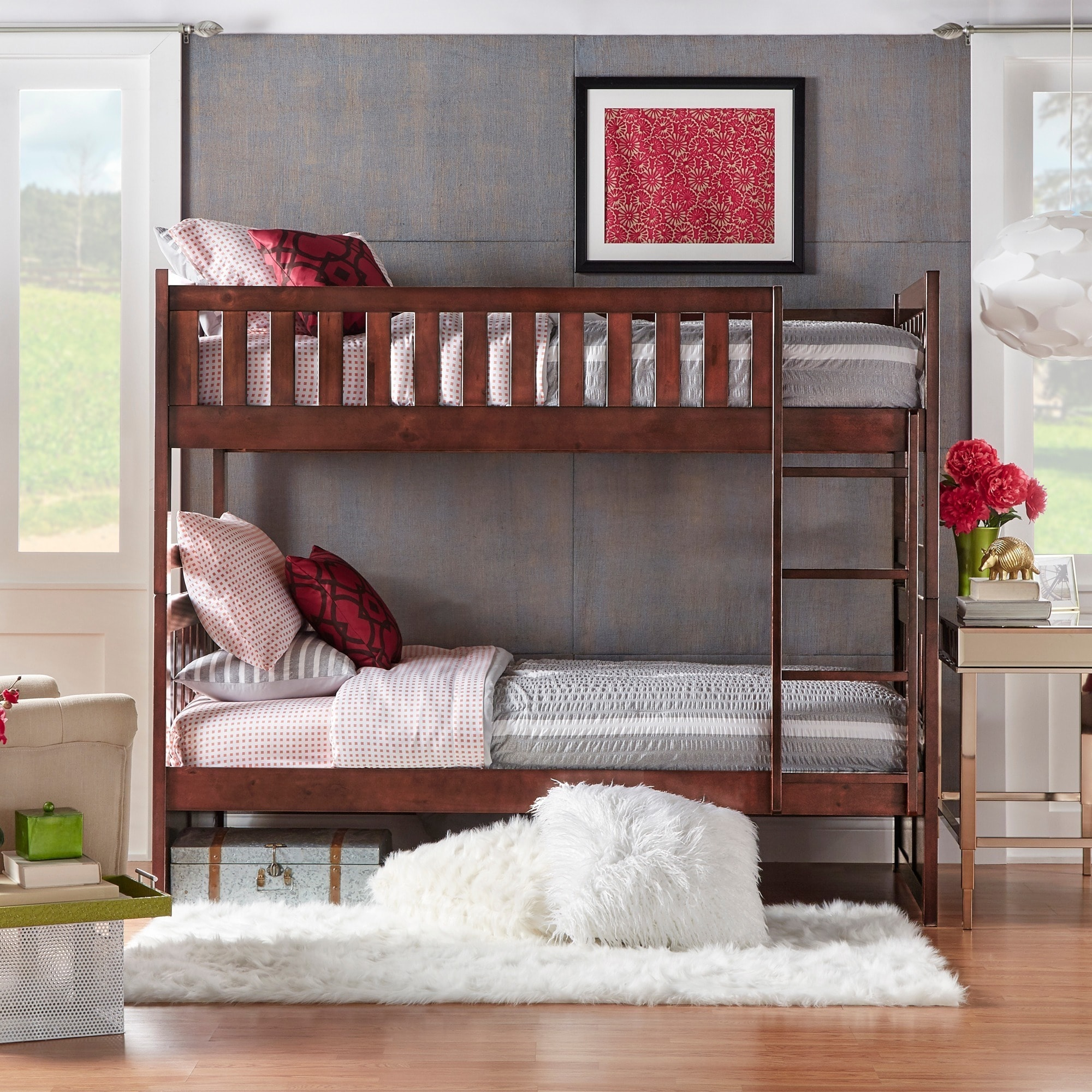 Shop Hunter Traditional Dark Cherry Wood Bunk Bed And Trundle By