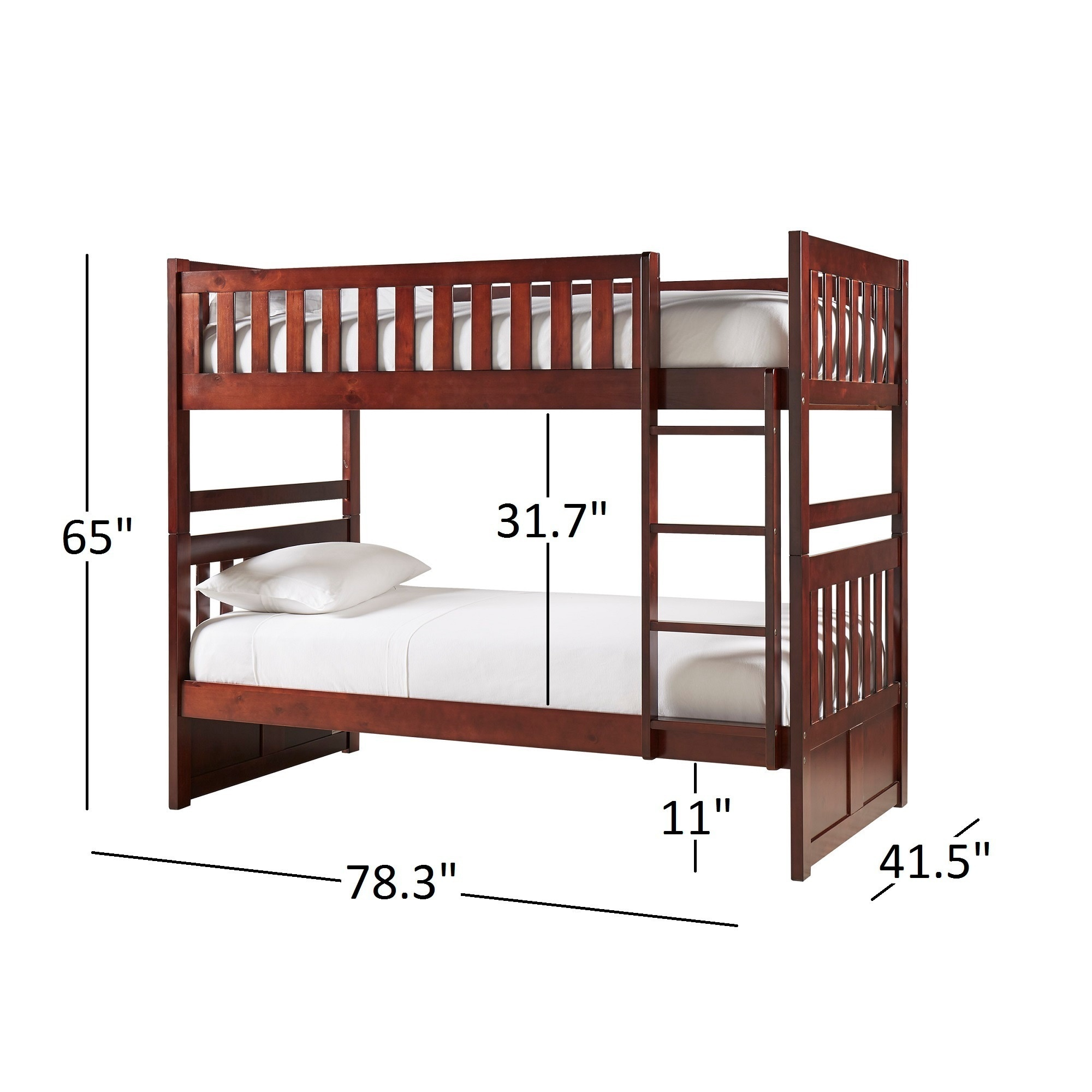 Hunter Traditional Dark Cherry Wood Bunk Bed And Trundle by iNSPIRE Q  Junior - Free Shipping Today - Overstock.com - 17215561