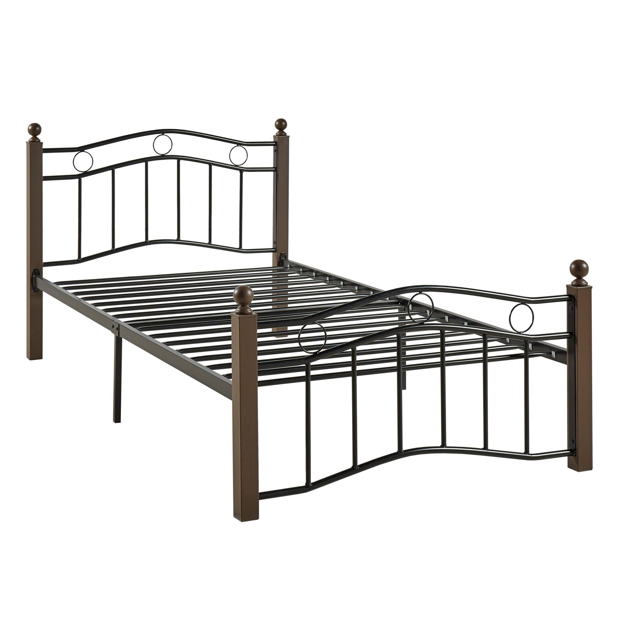 Sadie Brown and Black Twin Metal Bed by iNSPIRE Q Classic - Free Shipping  Today - Overstock.com - 17215567