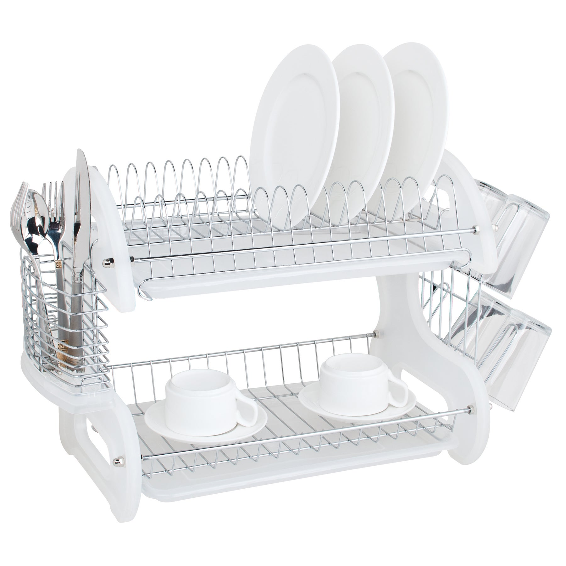 Sweet Home Collection Sleek Contemporary Design White 2-Tier Dish Drainer -  Free Shipping On Orders Over $45 - Overstock.com - 17216385