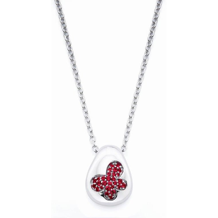 261f1570b Shop Lotopia 925 Sterling Silver Red Swarovski Zirconia Butterfly Pendant  w/ Chain - On Sale - Free Shipping Today - Overstock - 10074517