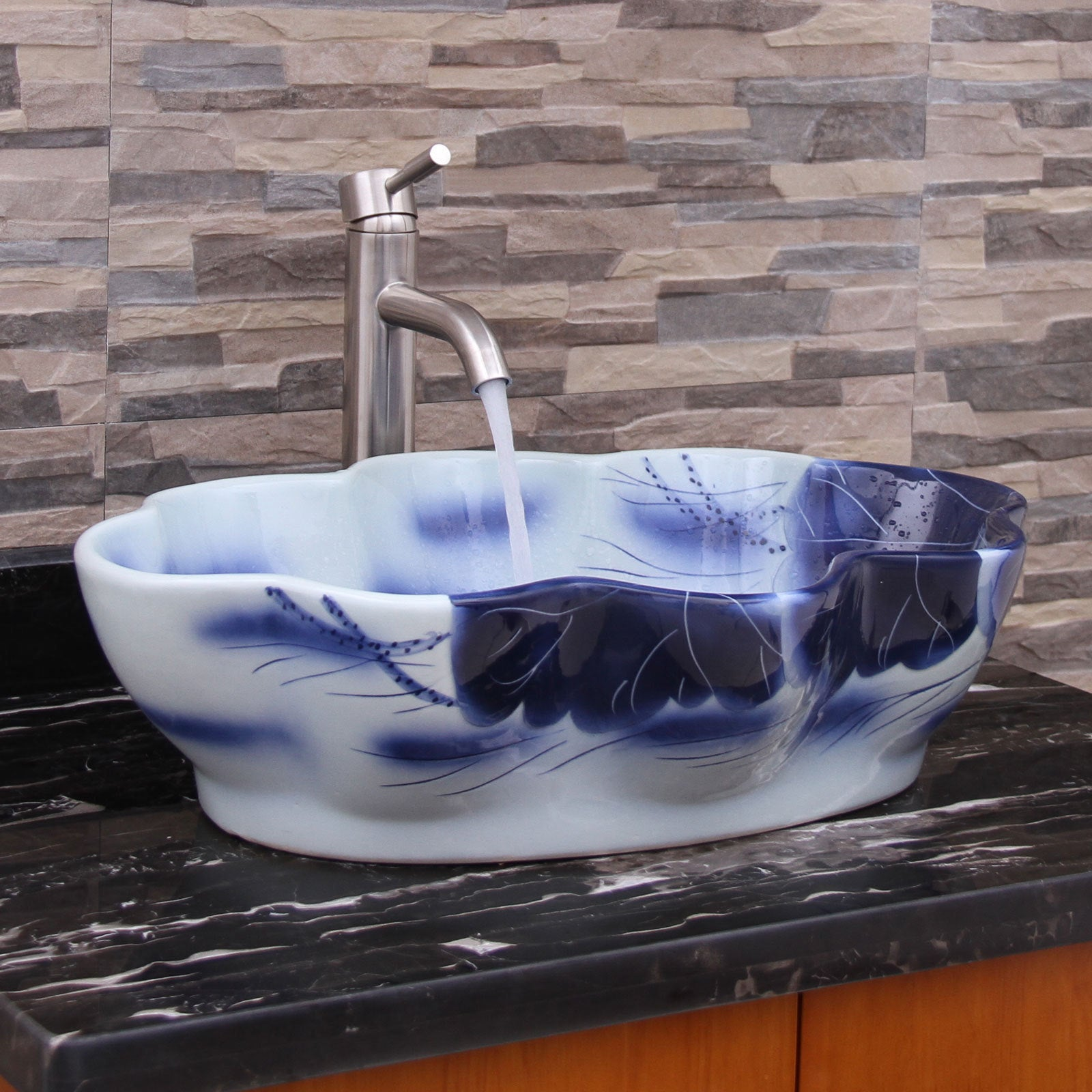 ELIMAX\'S 2031 Lotus Shape Blue and White Porcelain Ceramic Bathroom ...