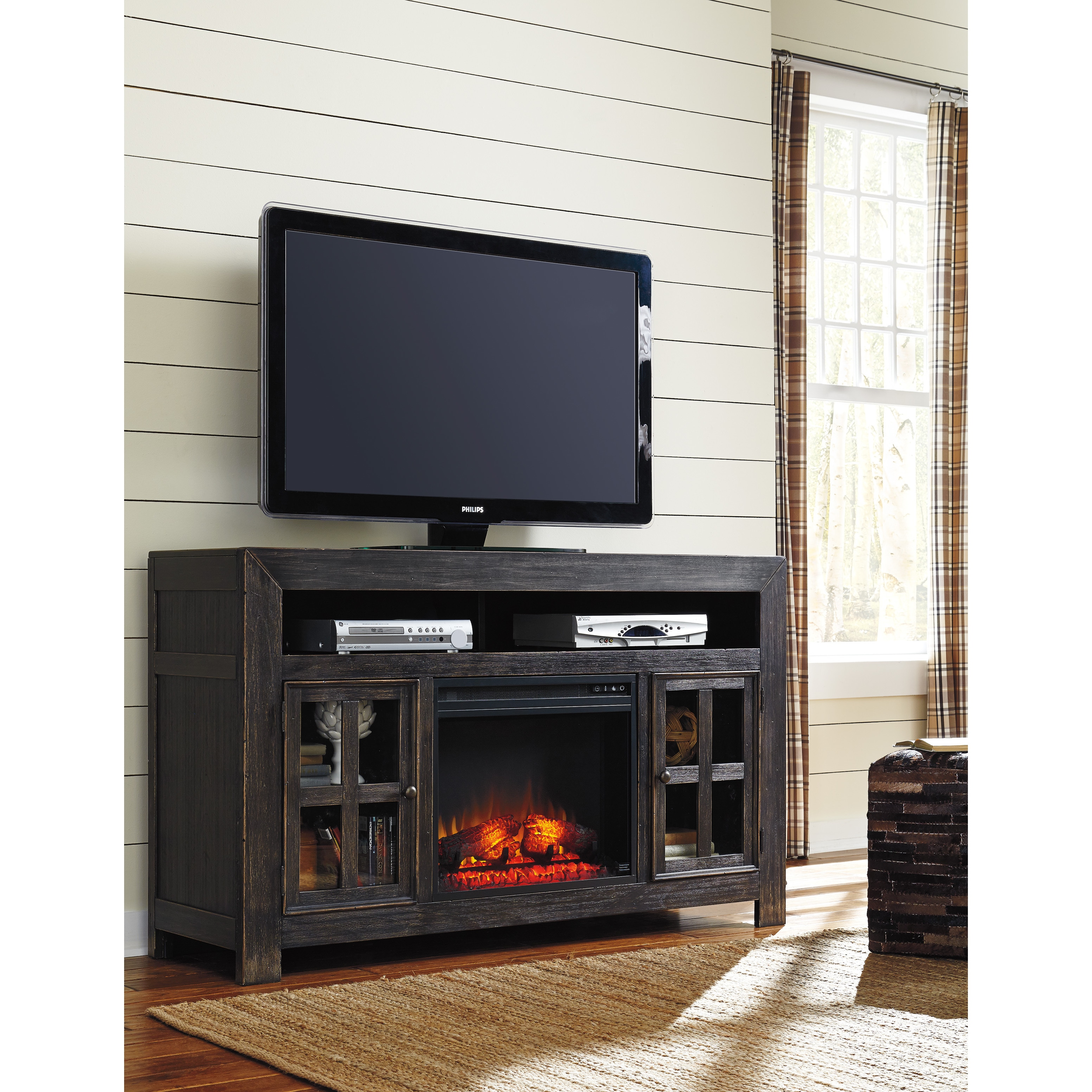 flame fireplace black electric dsw stands white home in real center stand depot tv fireplaces with distressed n b cooling entertainment the heating venting