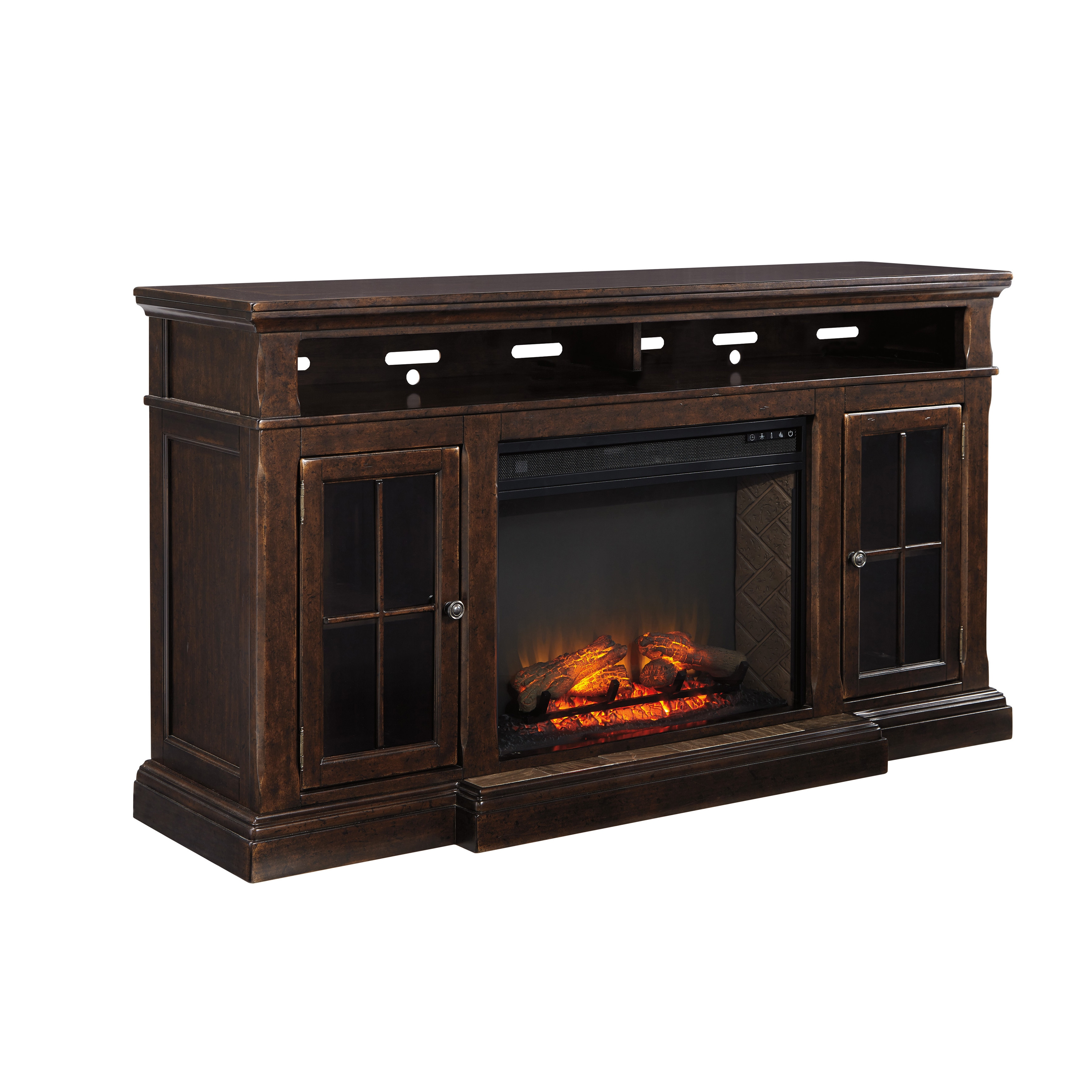 Signature Design by Ashley Roddinton Brown TV/Fireplace Stand ...