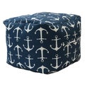 Premiere Home Indoor/Outdoor Sailor Anchor Navy 17 inch Square Pouf Footstool