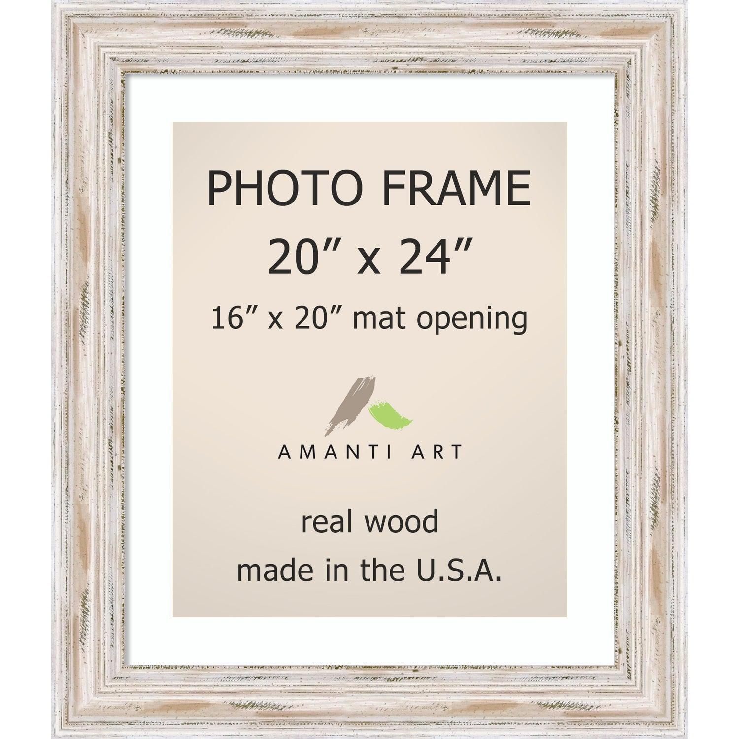 Alexandria Whitewash Photo Frame 20x24, Matted to 16x20\' 25 x 29 ...