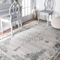 nuLOOM Traditional Vintage Abstract Light Grey Rug (7'10 x 11')