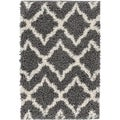 Well Woven Soft and Plush Shag Diamond Links Contemporary Grey, Ivory, and Charcoal Thick Area Rug (6'7 x 9'10)