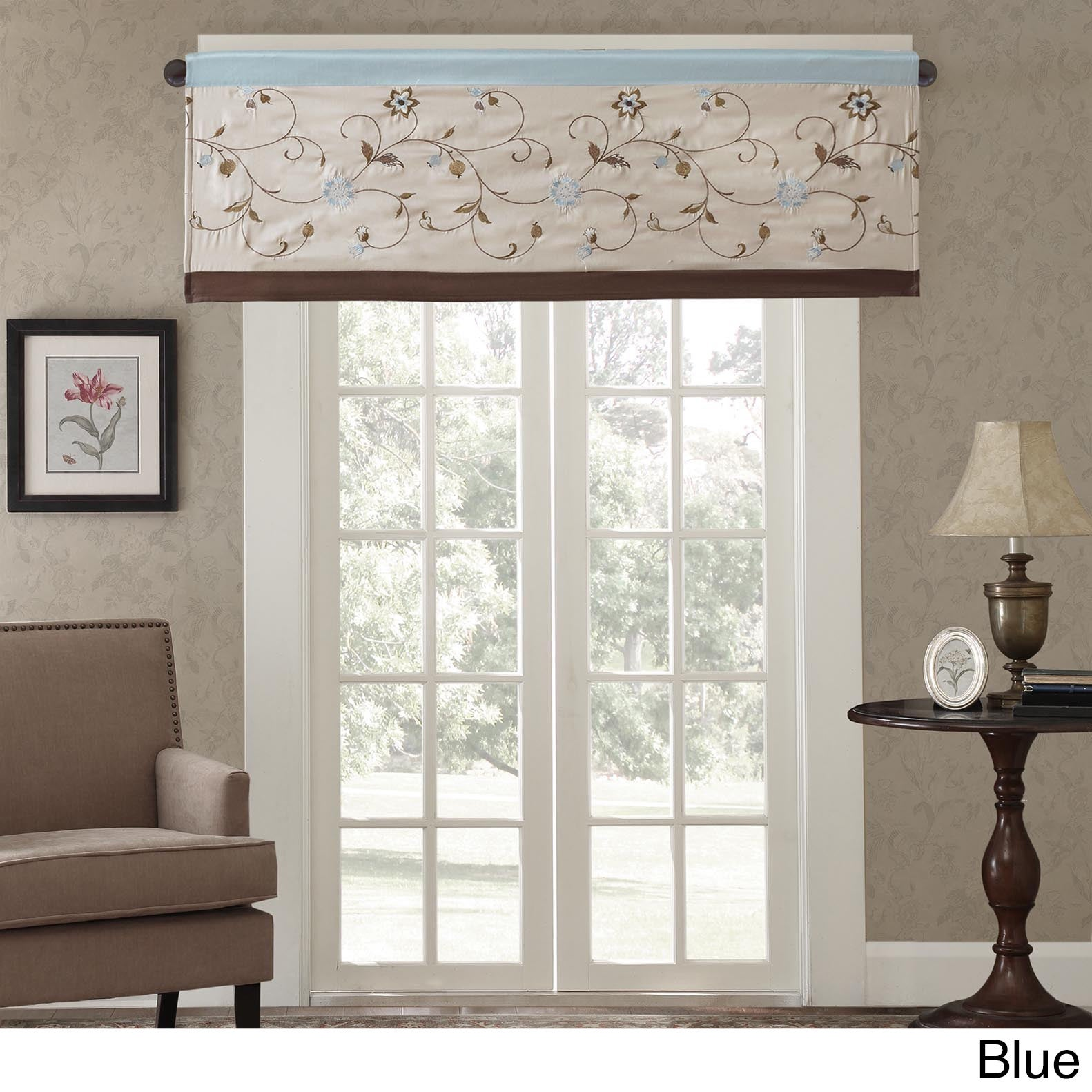 x p by click to floral blue filler valance expand waverly duchess kitchen regency