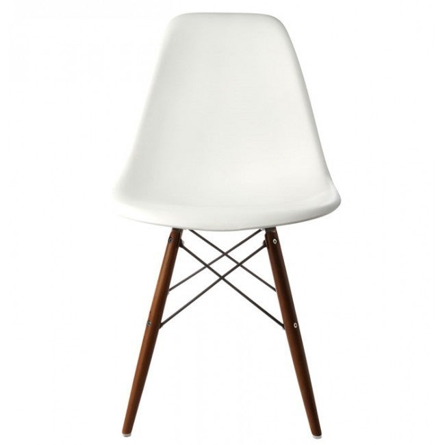 Retro Molded Style White Plastic Shell Chair With Dark Walnut Wood Eiffel  Legs   Free Shipping Today   Overstock   17226921