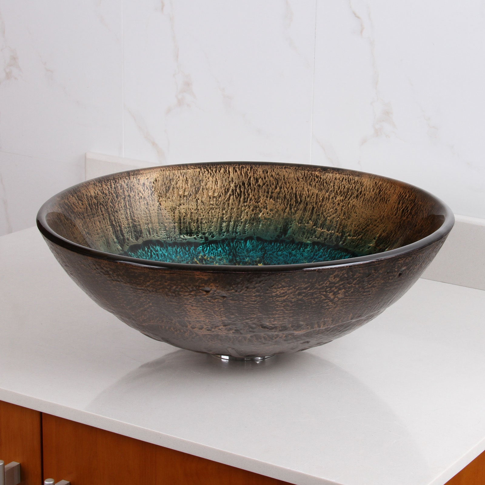 Volcanic Pattern Tempered Glass Bathroom Vessel Sink and Waterfall ...