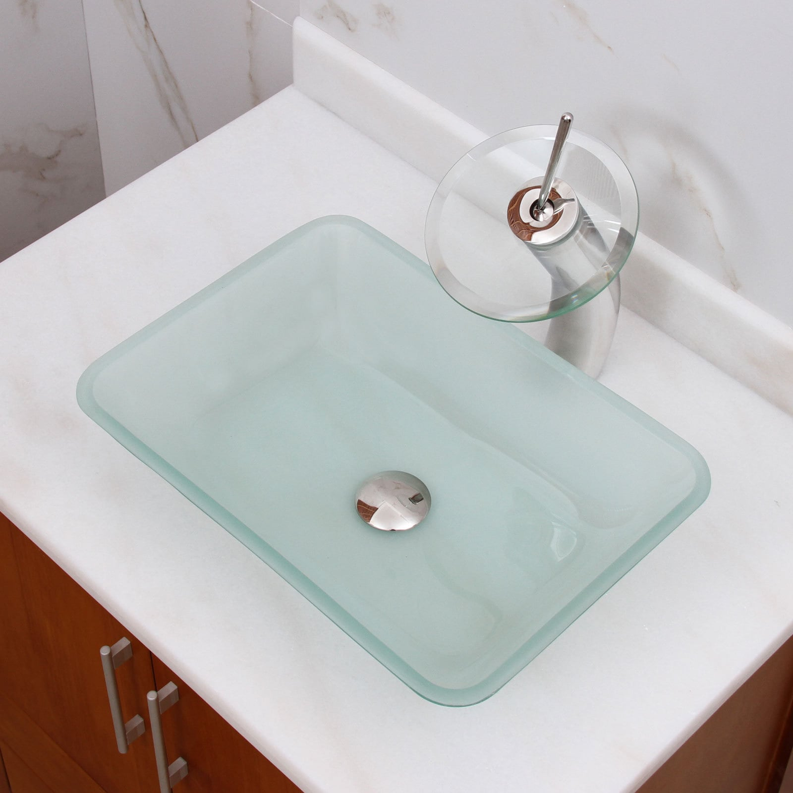 Shop Rectangle Frosted Tempered Glass Bathroom Vessel Sink - Free ...