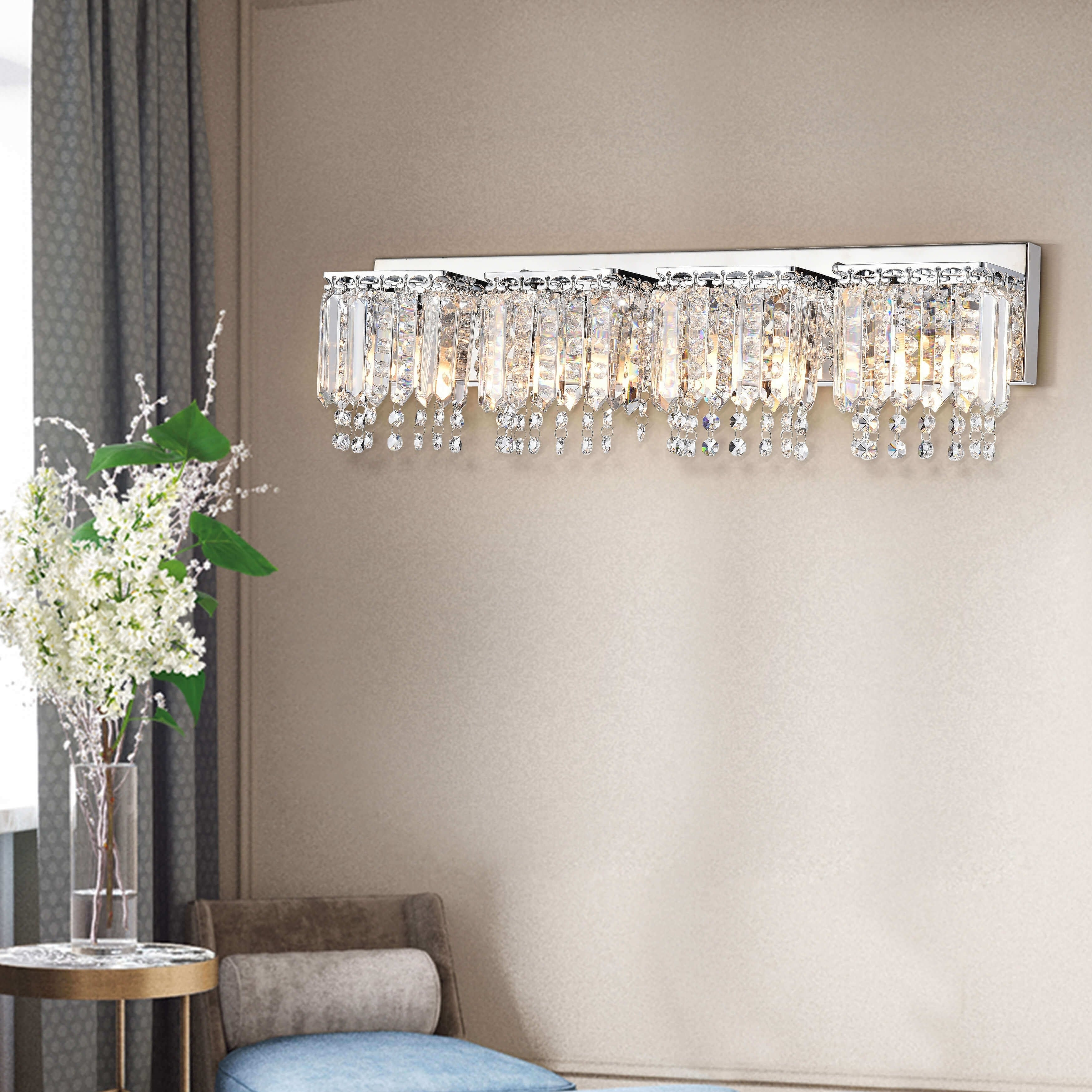 Evelyn 4 Light Chrome Finish Crystal Strand Wall Sconce Free Today Com 10085591