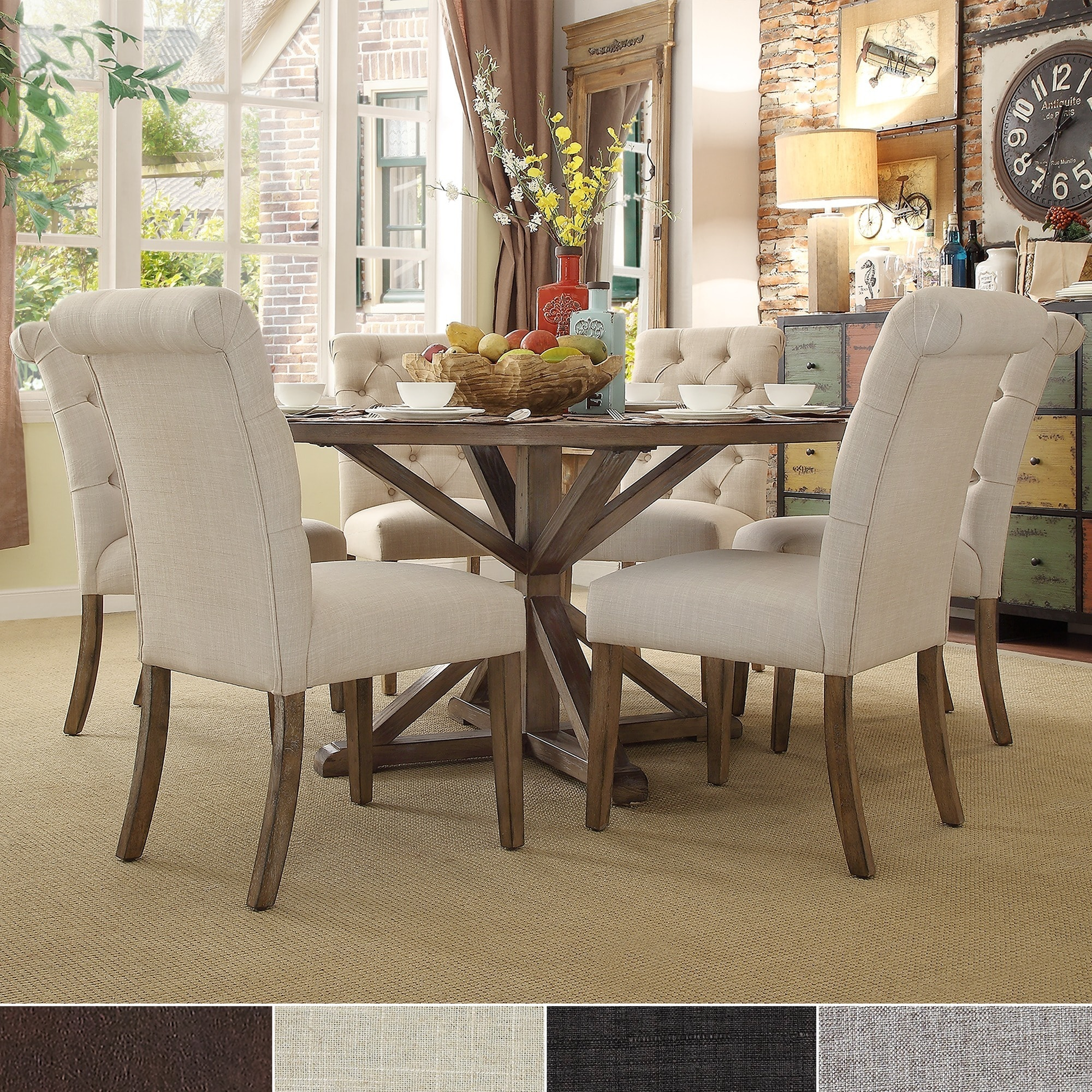 Benchwright Rustic X-base Round Pine Wood Rolled Back 7-piece Dining Set by  iNSPIRE Q Artisan - Free Shipping Today - Overstock.com - 17228681